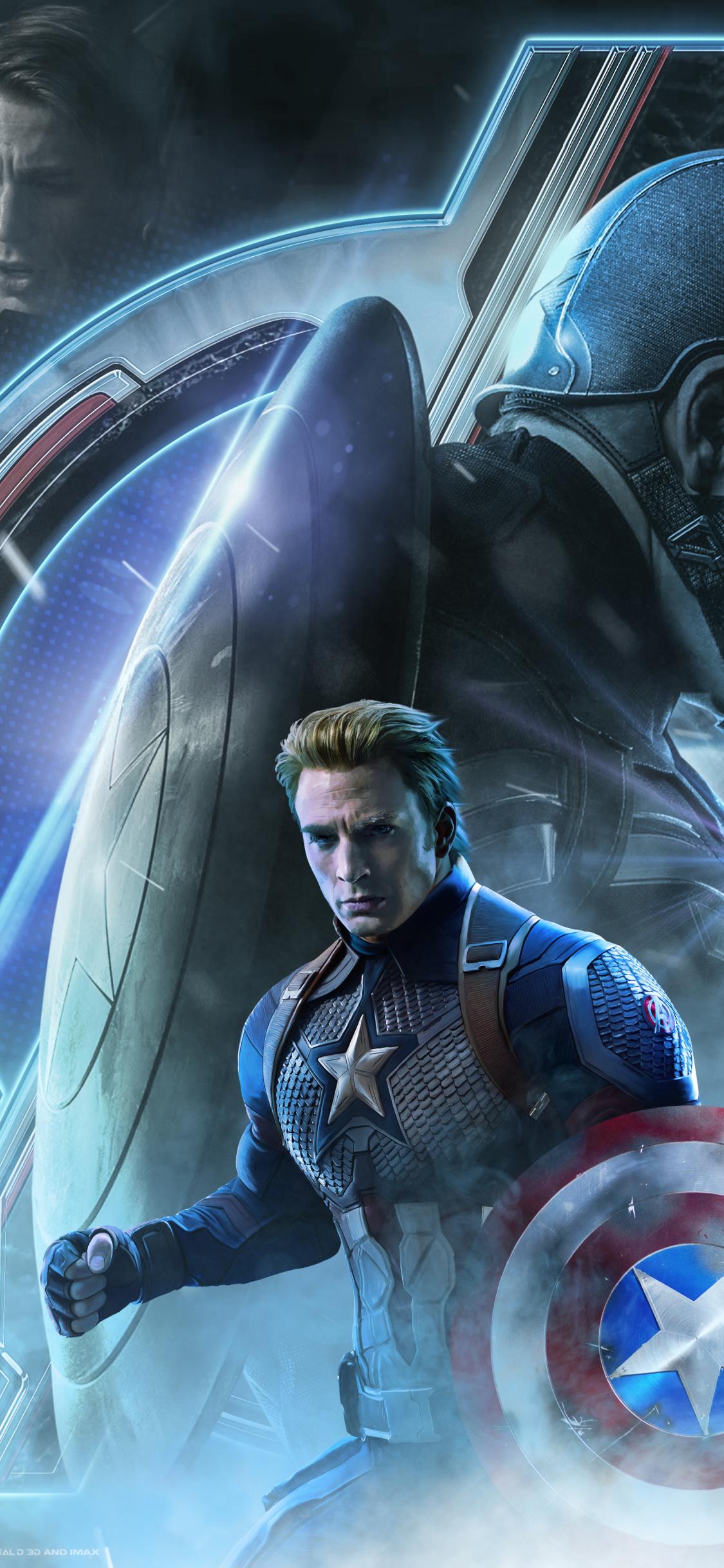 1125x2436 Avengers Endgame Captain America Poster Art ...