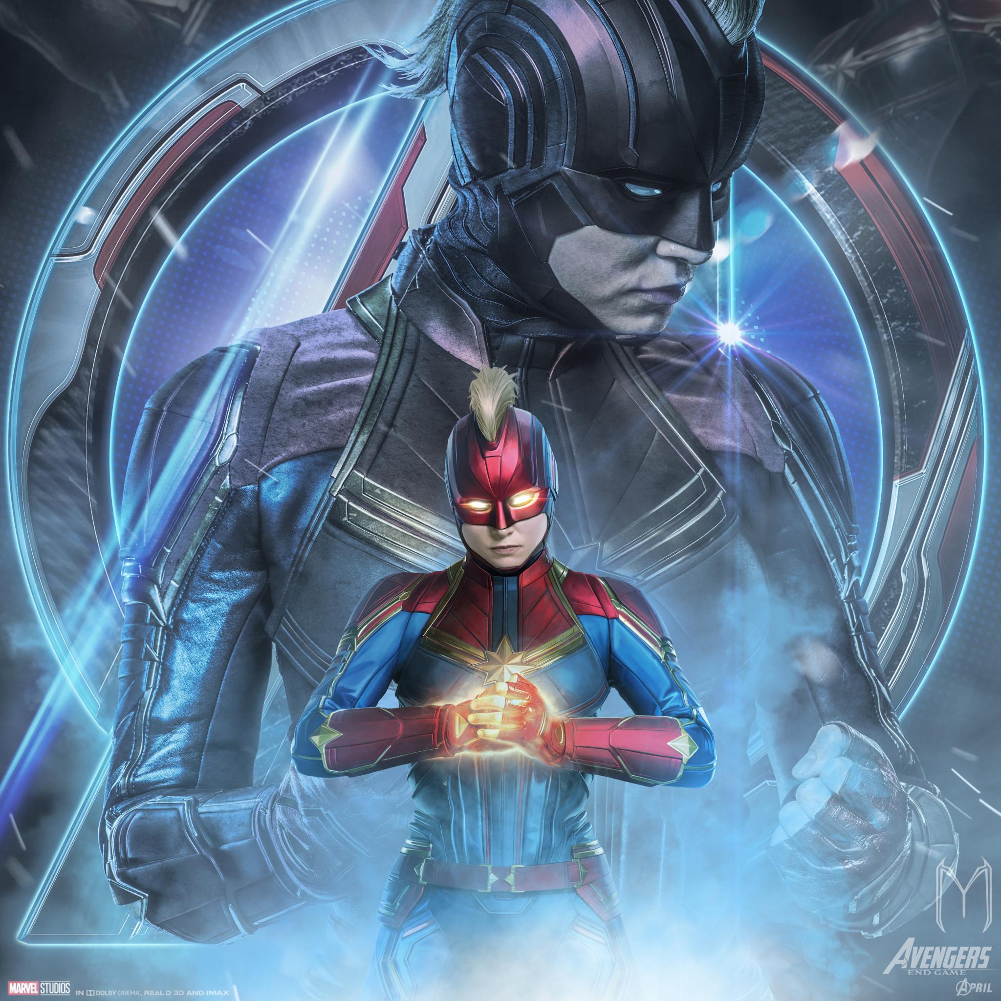 2048x2048 Avengers Endgame Captain Marvel Poster Art Ipad