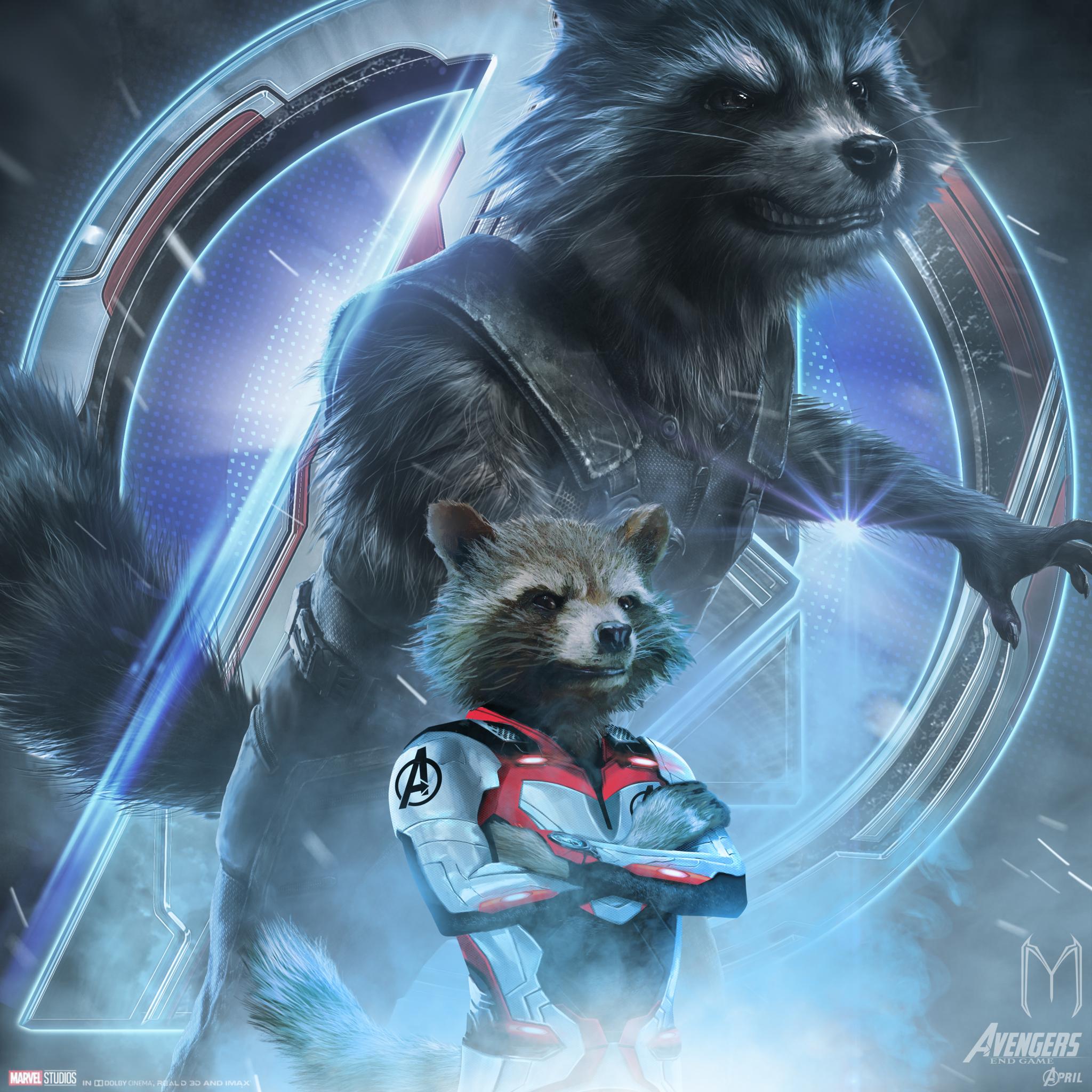 2048x2048 Avengers Endgame Rocket Raccoon Poster Art Ipad