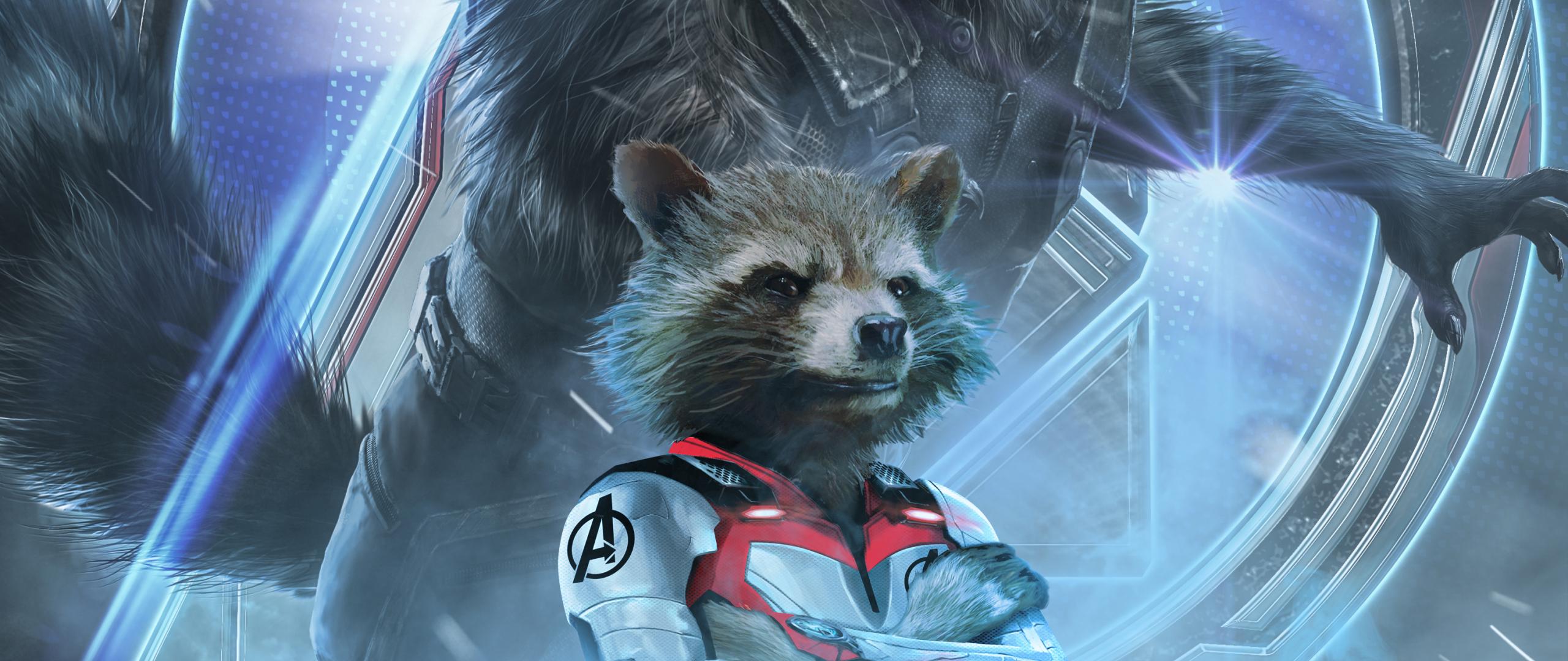 2560x1080 avengers endgame rocket raccoon poster art - Rocket raccoon phone wallpaper ...