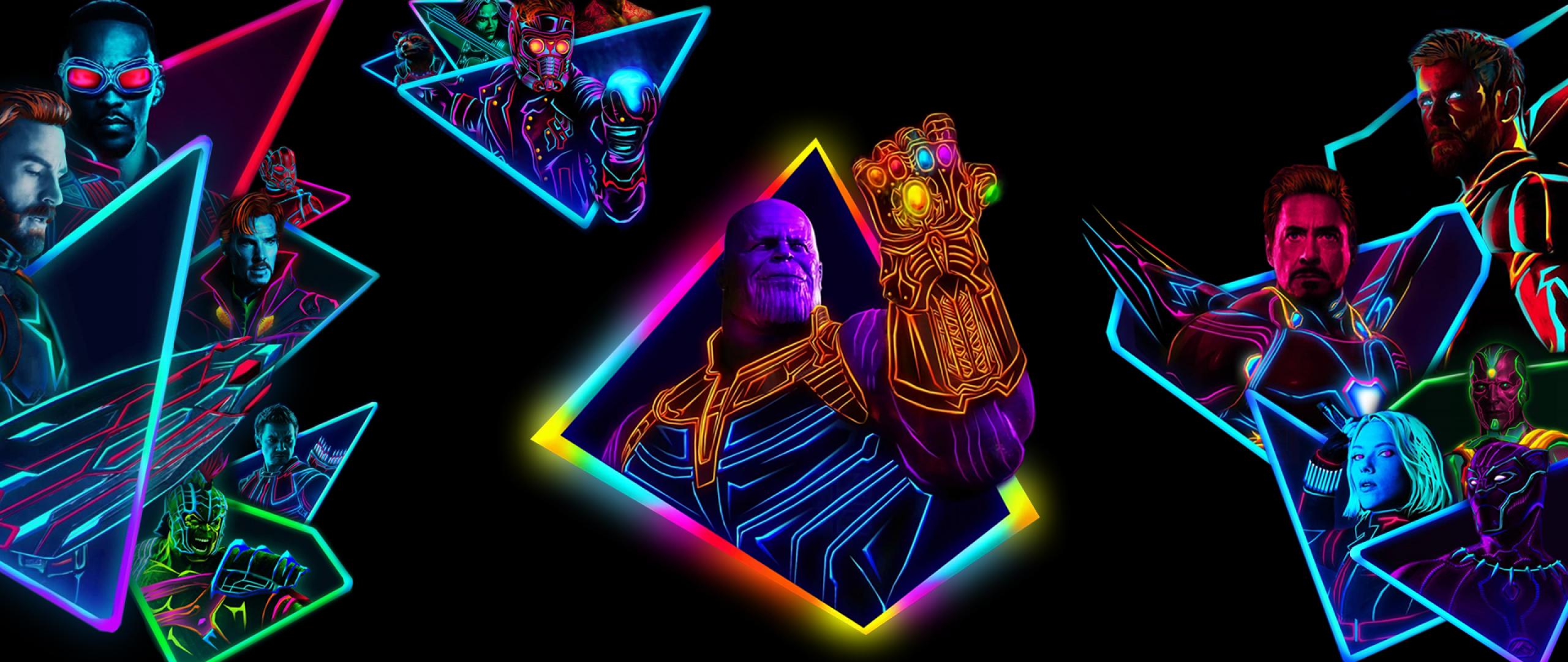 10 New Avengers Infinity War Desktop Wallpaper Full Hd: Avengers Infinity War 80s Neon Style Art, Full HD Wallpaper