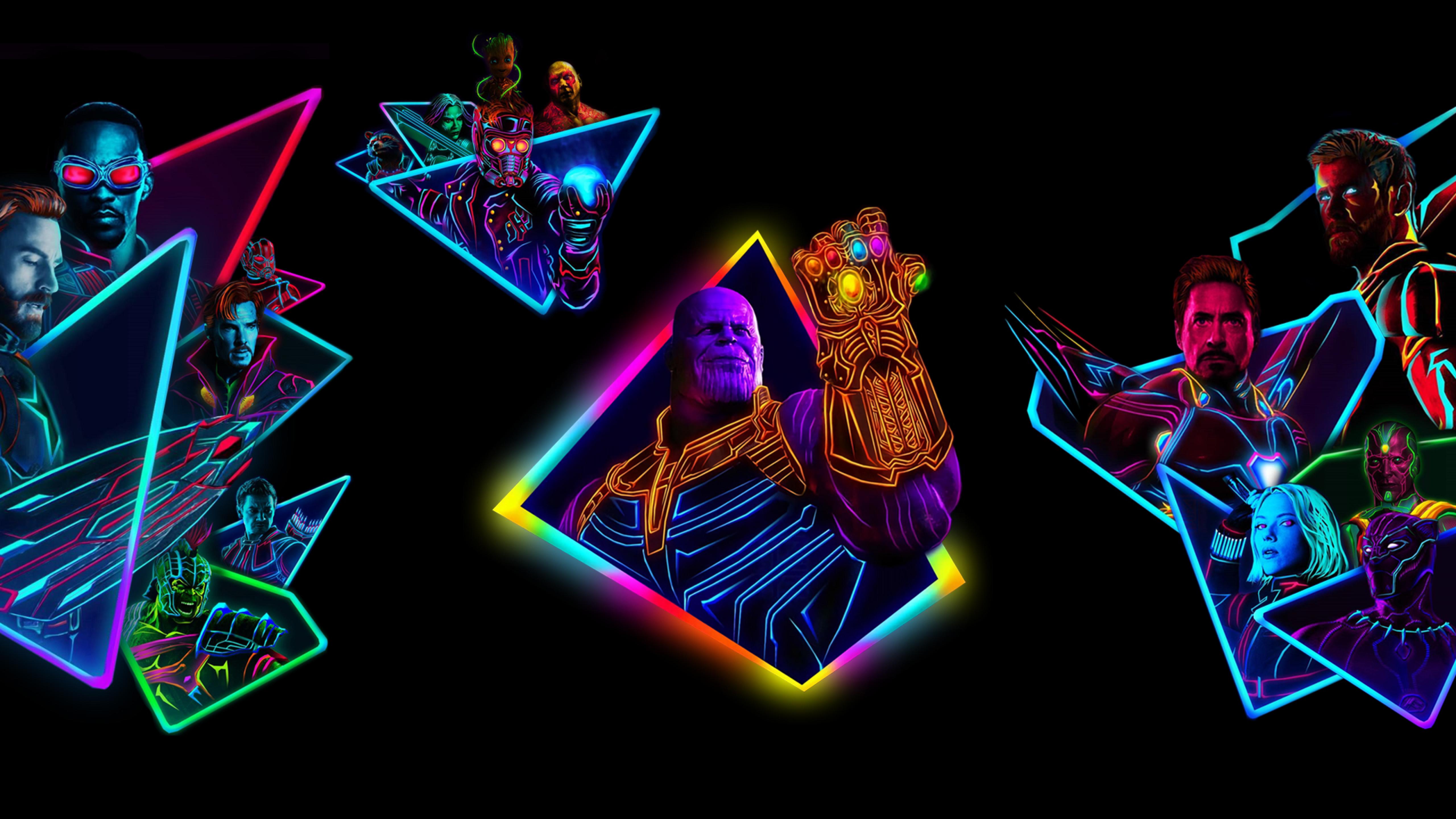 Avengers Infinity War 80s Neon Style Art Full HD Wallpaper