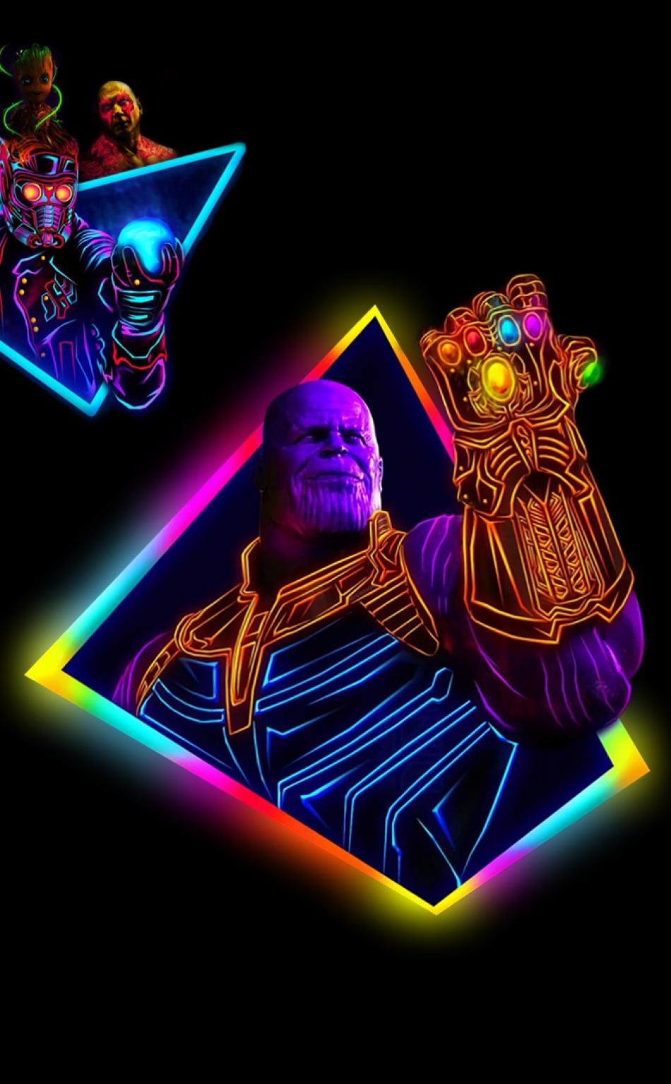 Avengers Infinity War 80s Neon Style Art, Full HD Wallpaper