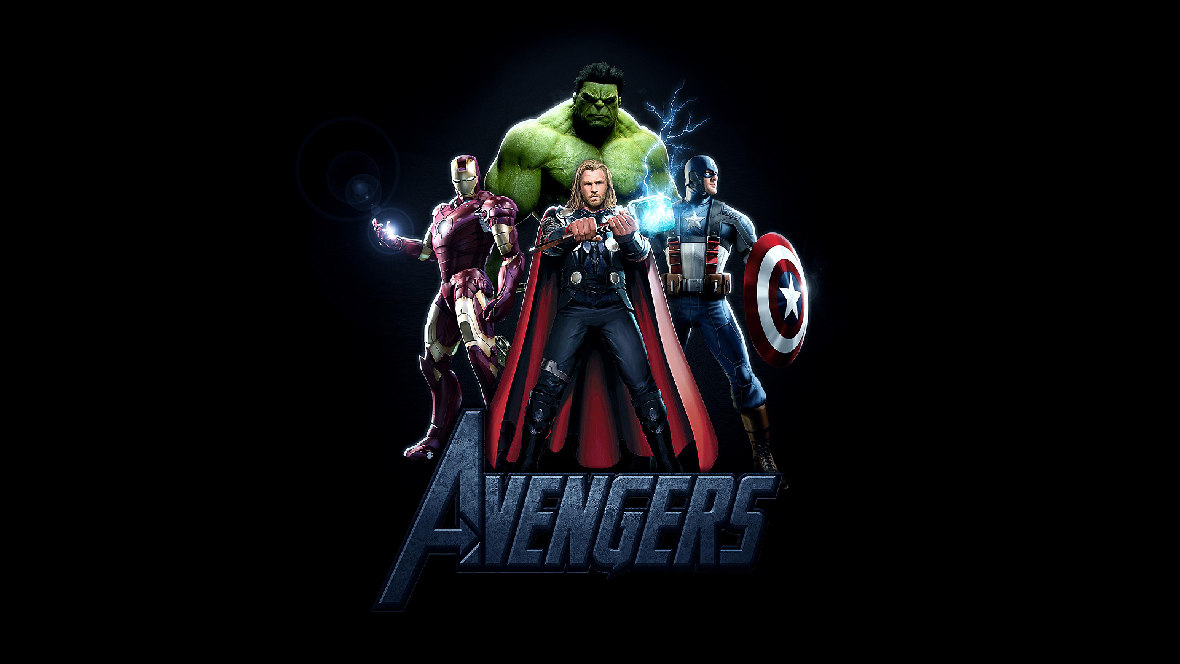 3840x2160 Avengers Thor Iron Man Captain America And Hulk Poster