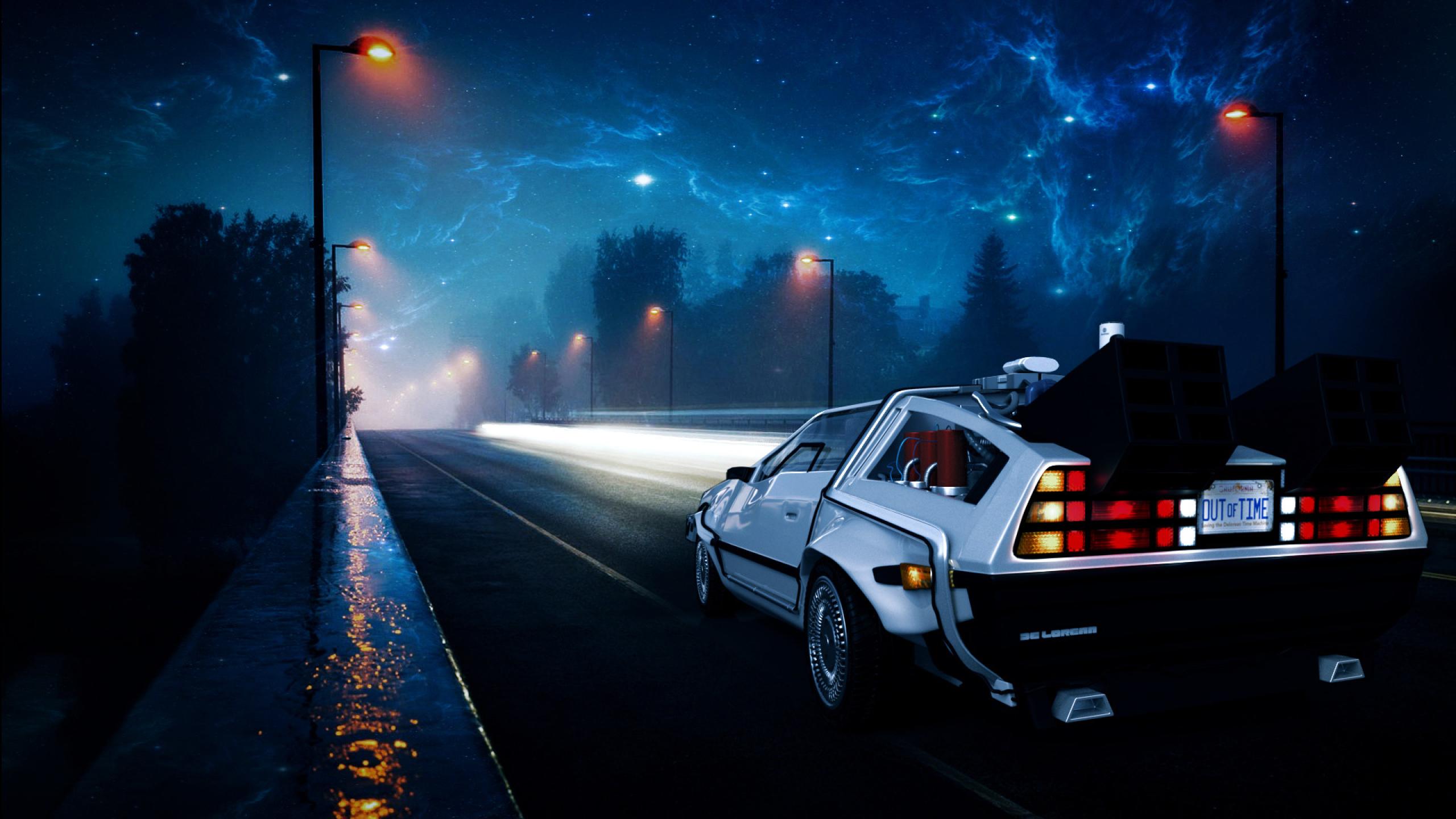2560x1440 Back to the Future DeLorean Car Illustration ...