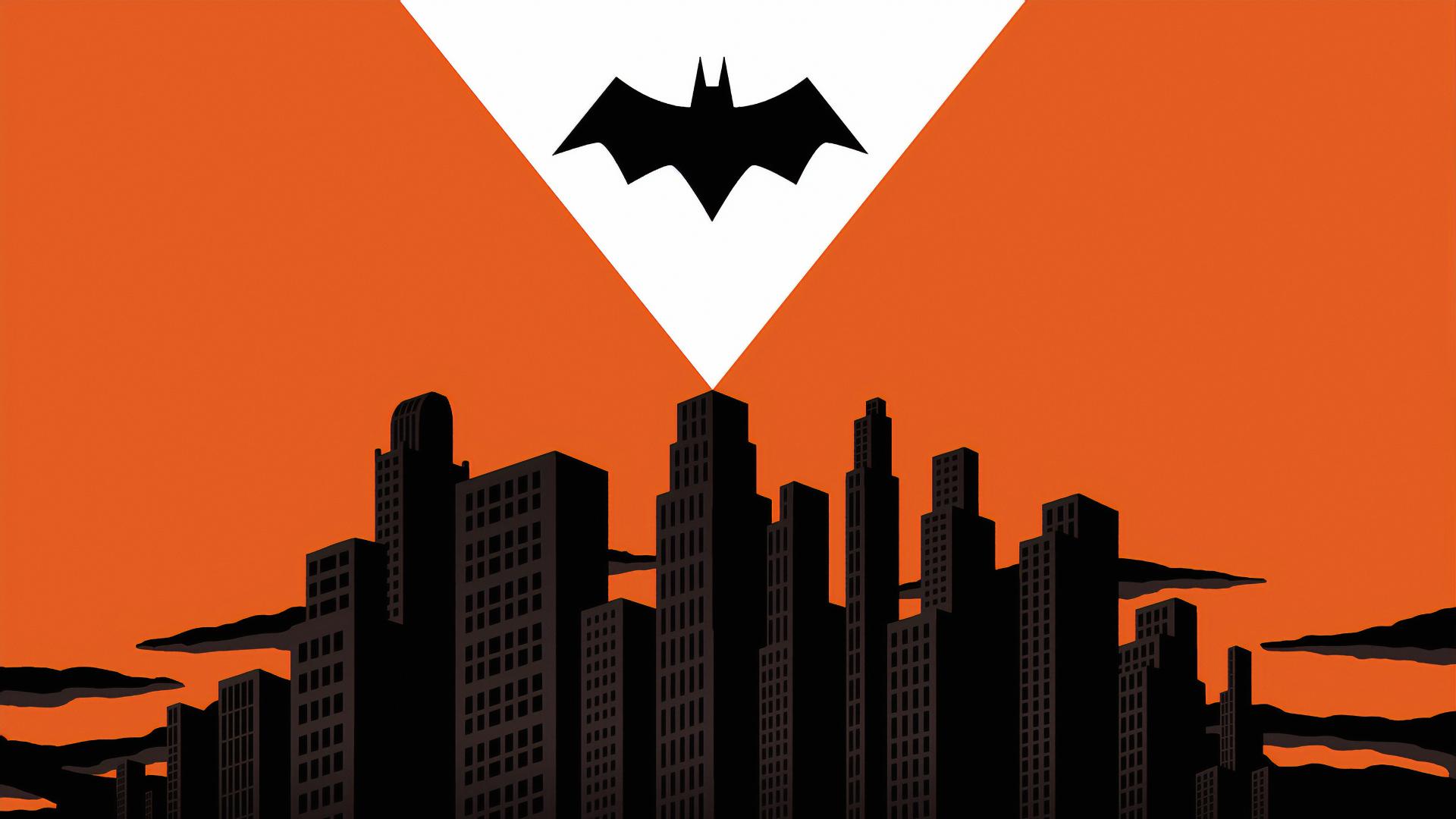 1920x1080 Batman Logo Over Gotham City 1080p Laptop Full Hd