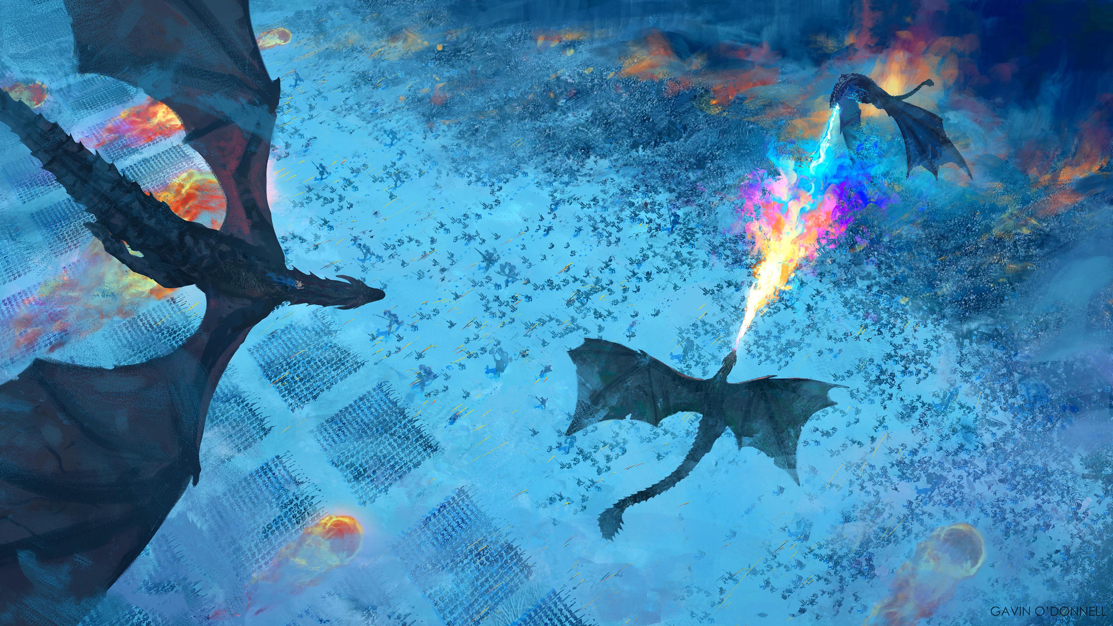 Dragons Game Of Thrones 8 Art 4K