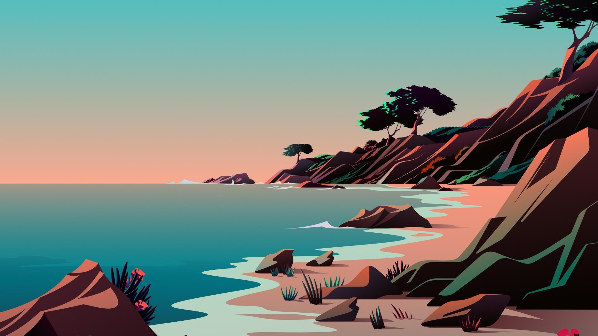 1920x1080 Beach Minimalist Digital Art 5K 1080P Laptop ...