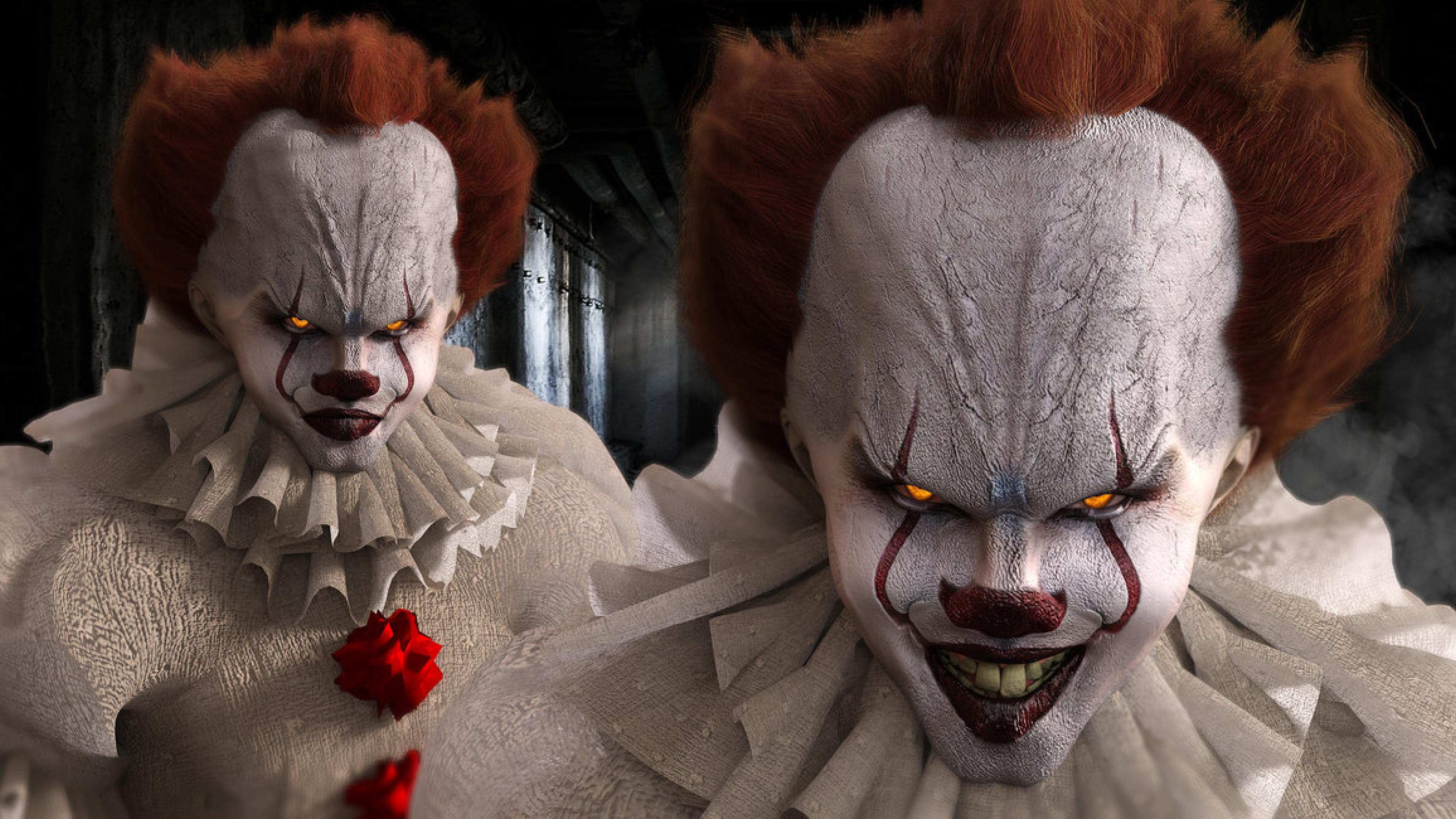 Wallpaper It Clown Bill Skarsgard Horror 2017 Hd: Bill Skarsgard As Pennywise In Movie It, HD Wallpaper