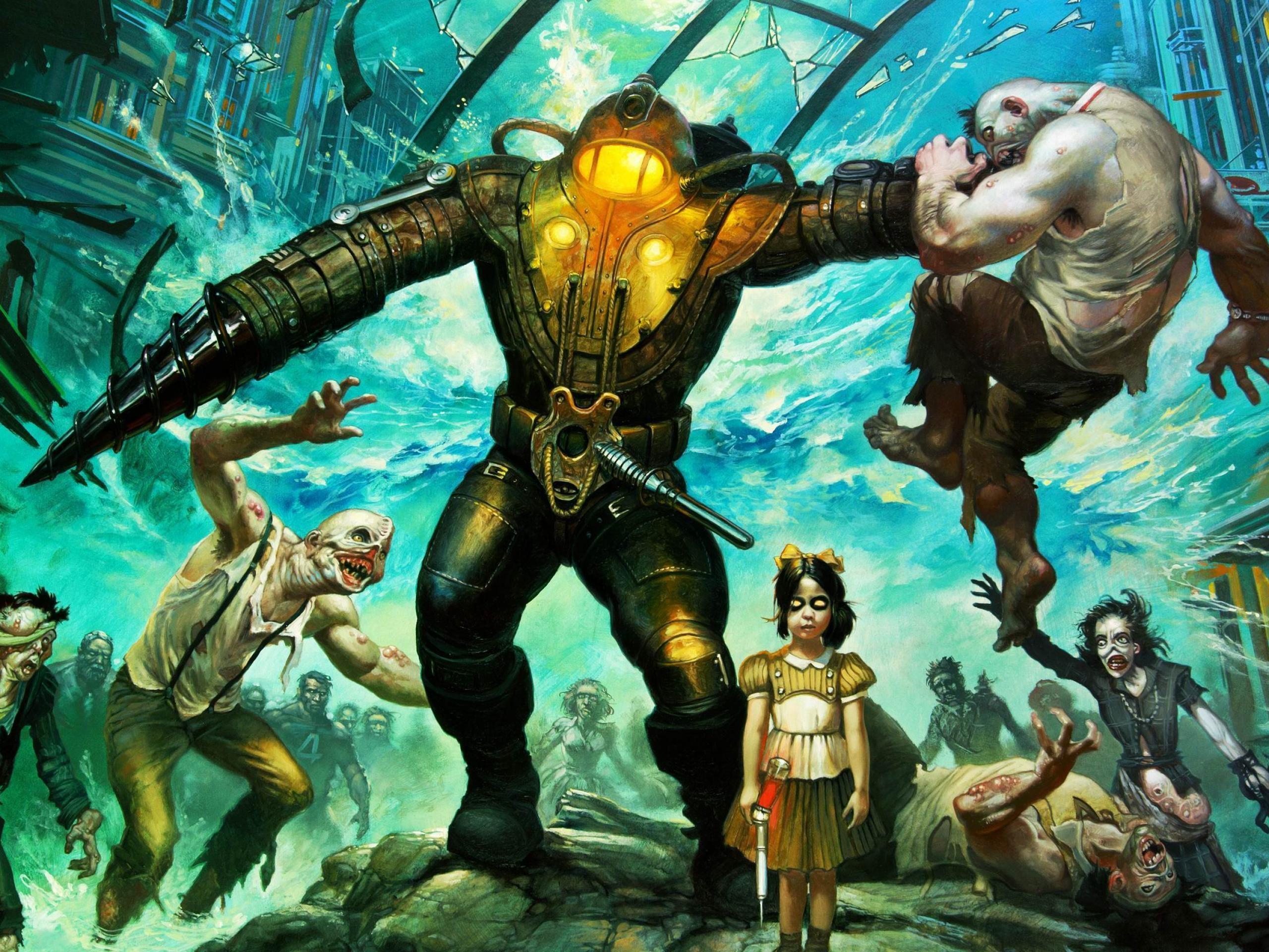 Bioshock Big Daddy Little Sister Wallpaper Hd Games 4k