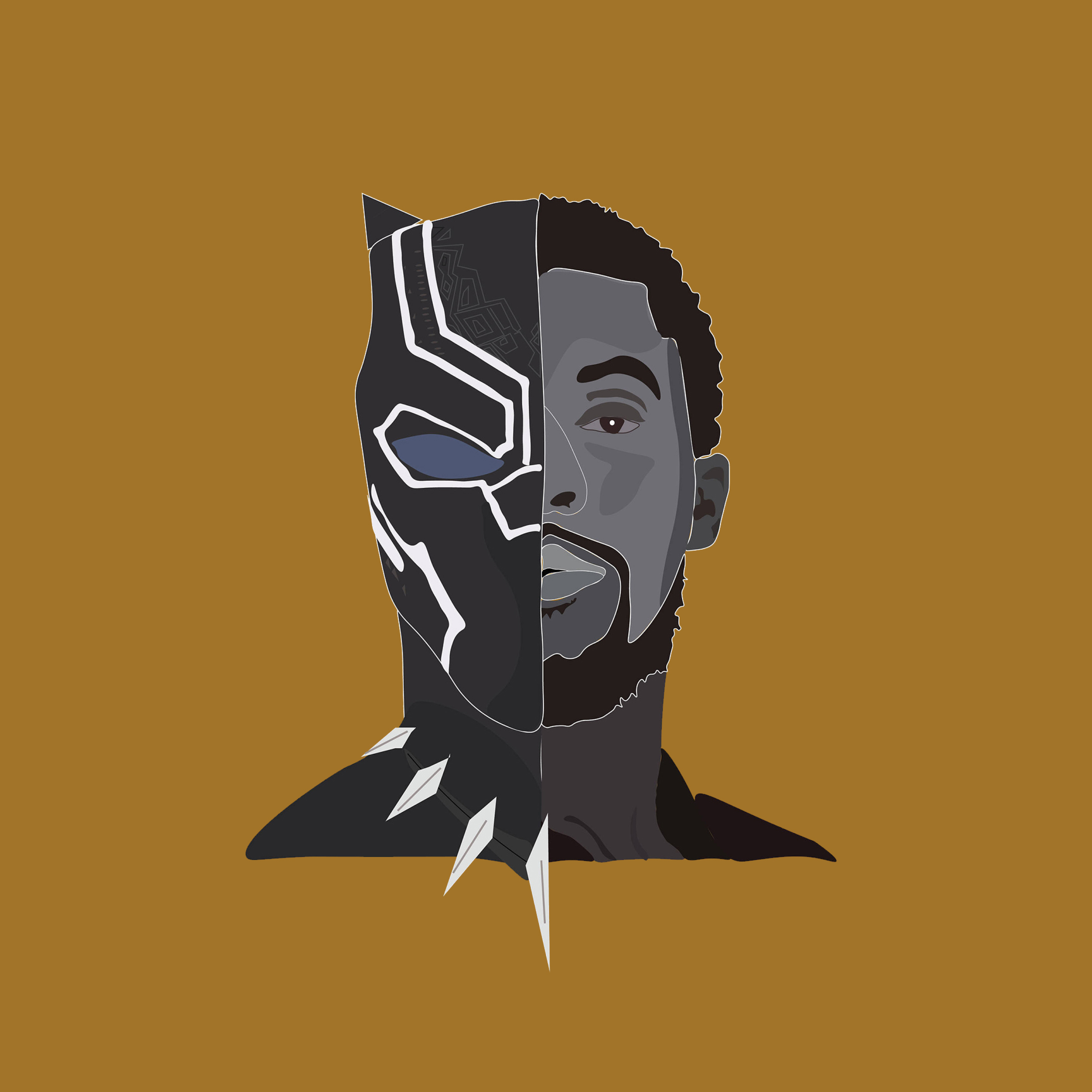 Wallpaper Iphone Minimalist: Black Panther Chadwick Boseman Movie Minimalism, HD 4K