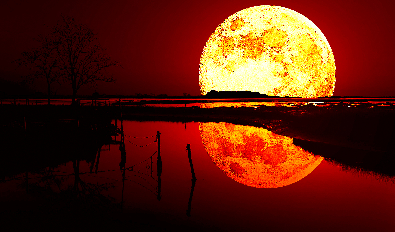 Red Moon Wallpaper: Blood Moon, Full HD 2K Wallpaper
