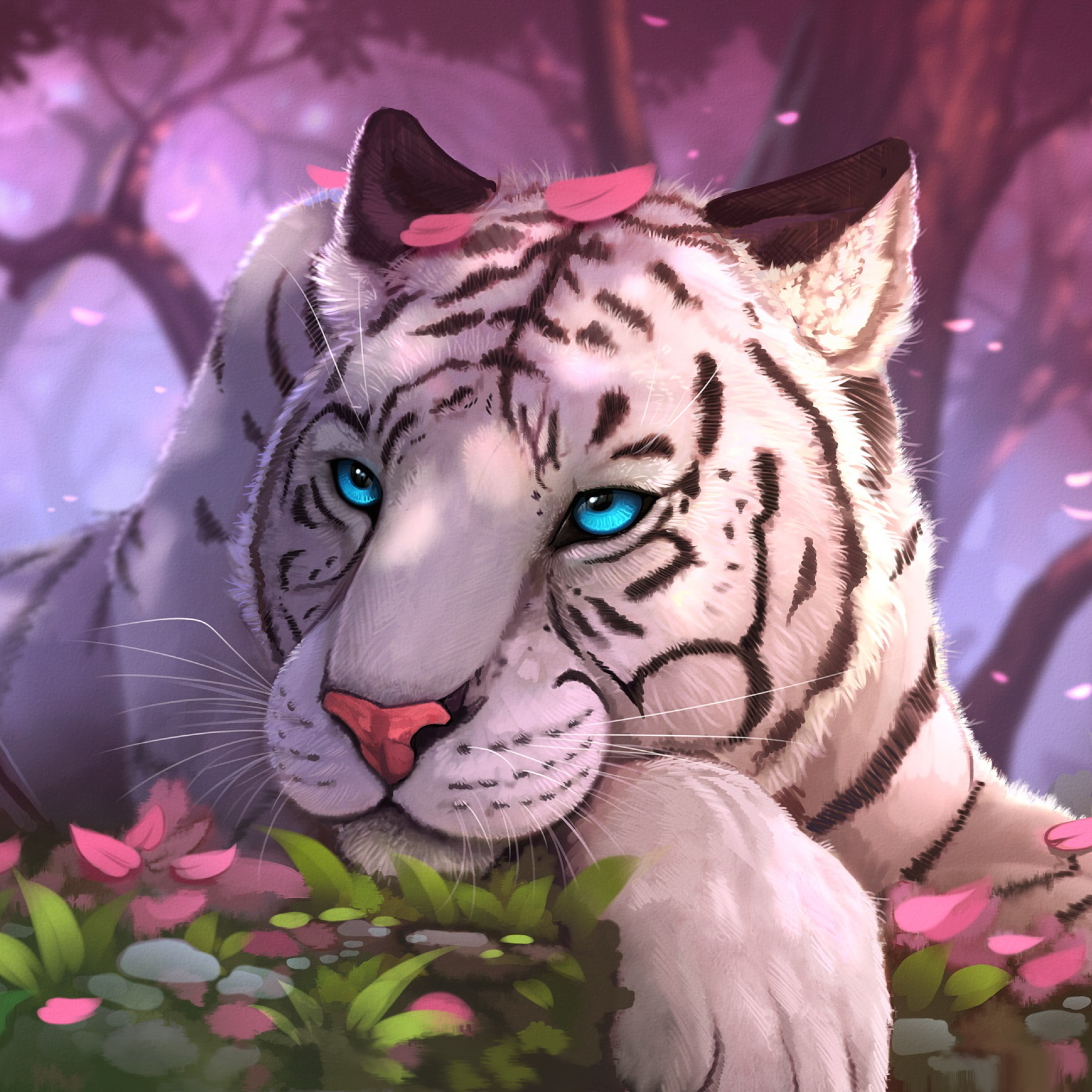 2048x2048 Blue Eyes White Tiger In Fantasy World Ipad Air