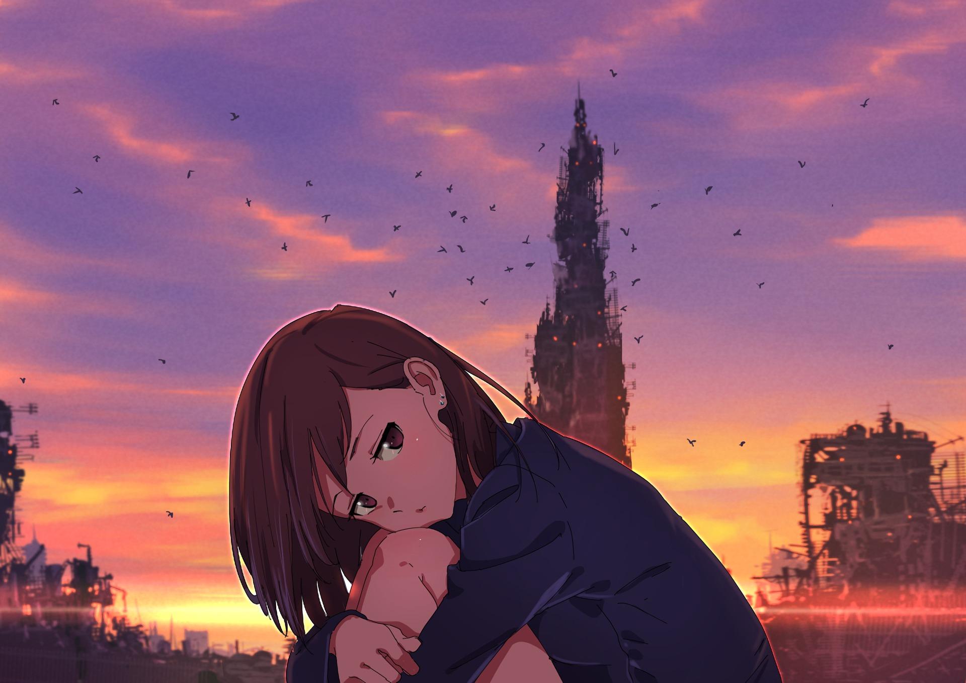 Download Broken Heart Anime Girl 480x854 Resolution Full HD Wallpaper
