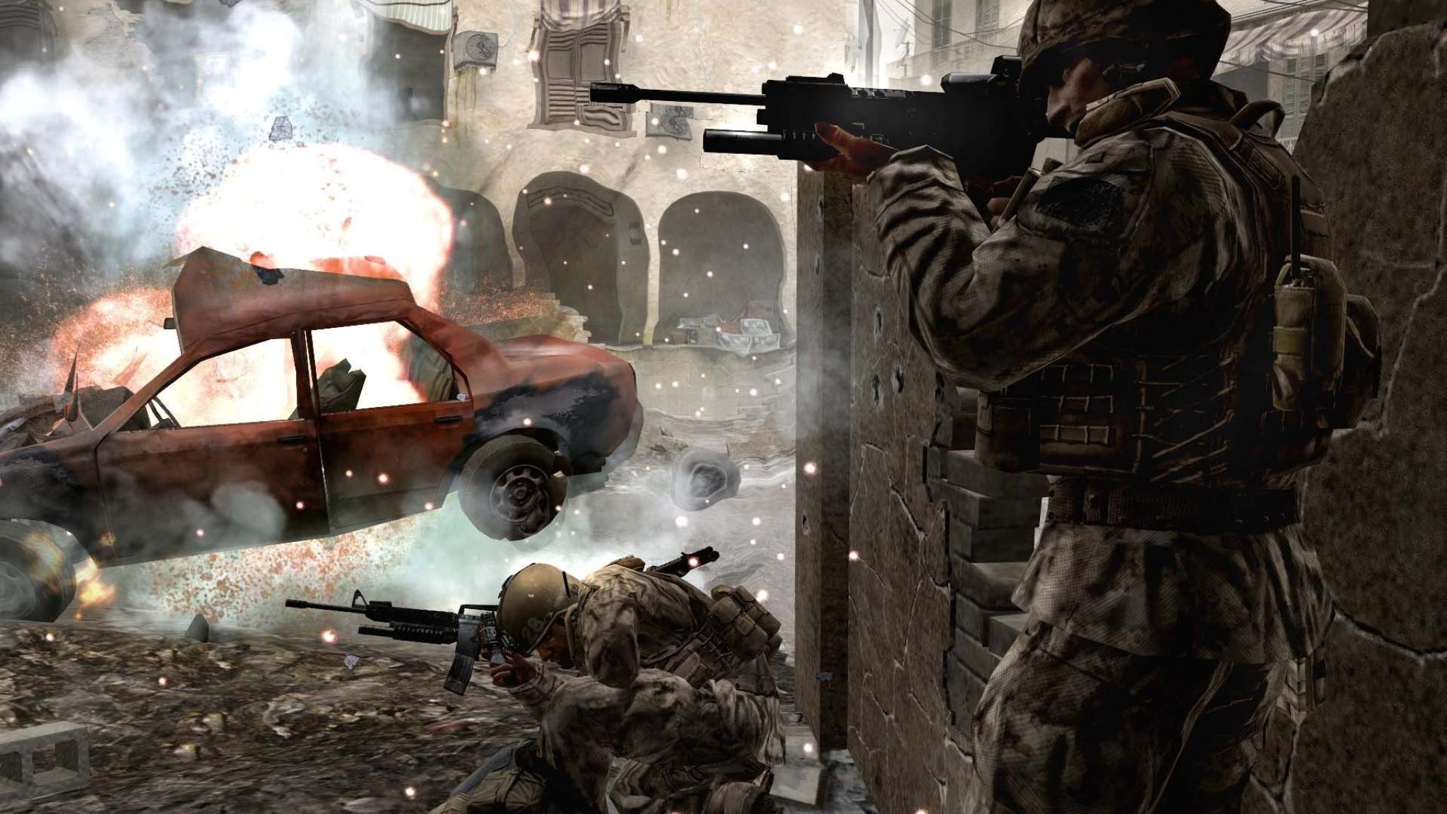 2048x1152 Call Of Duty 4 Modern Warfare Soldiers Machine