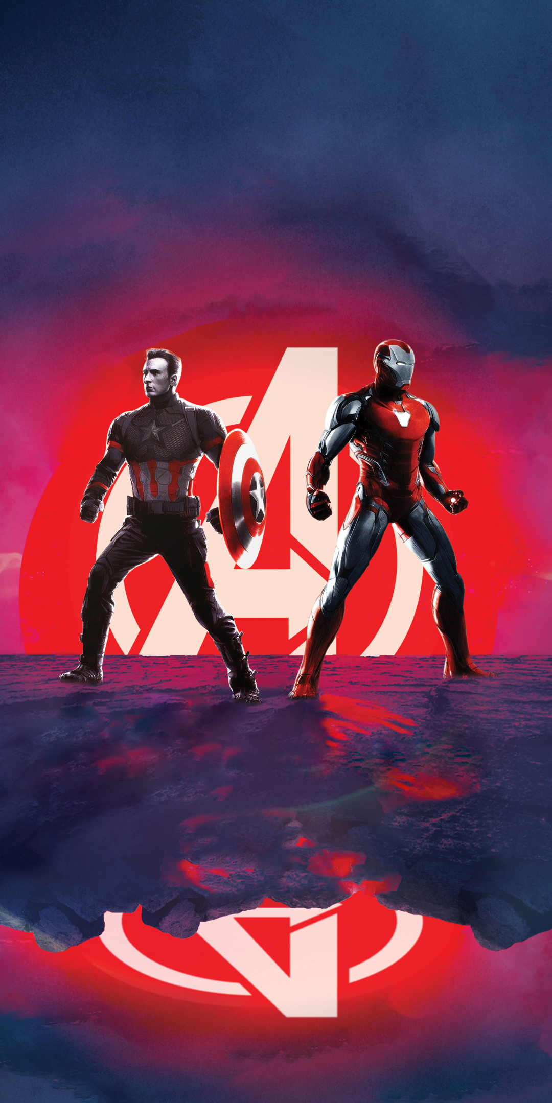 Captain America and Iron Man Avengers Endgame Wallpaper in 1080x2160 Resolution
