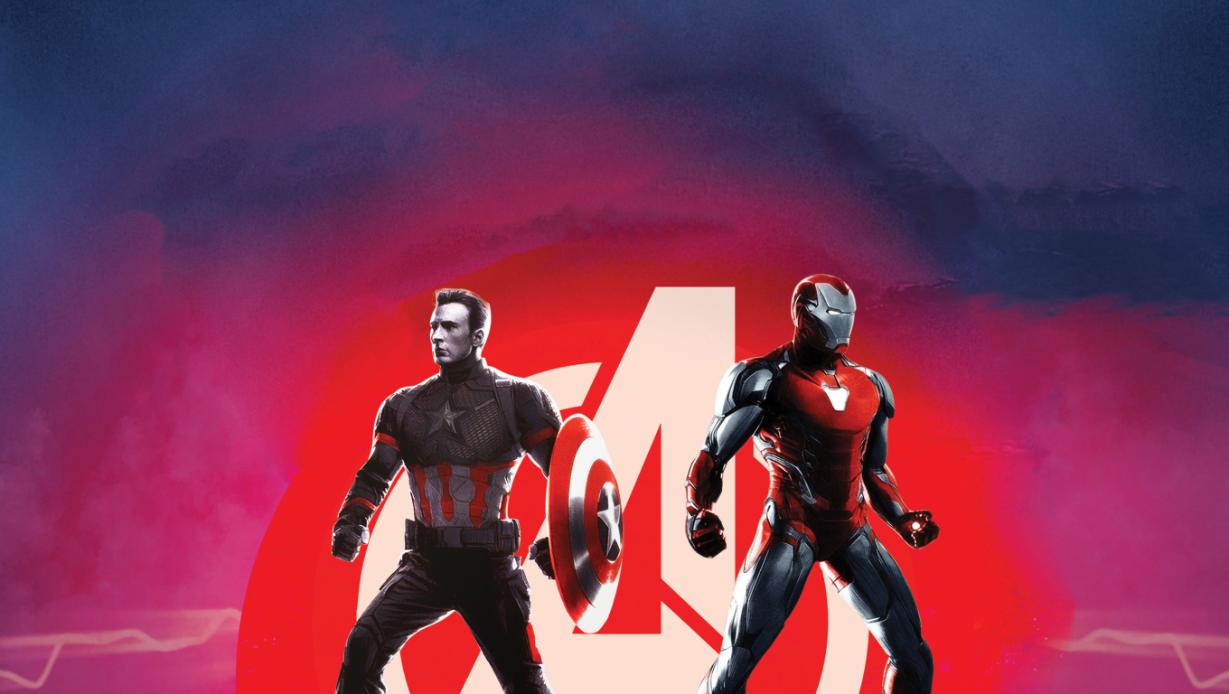Captain America and Iron Man Avengers Endgame Wallpaper in 1360x768 Resolution