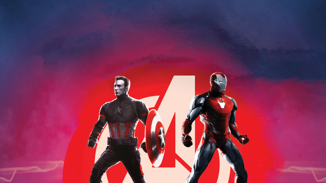 Captain America and Iron Man Avengers Endgame Wallpaper in 1366x768 Resolution