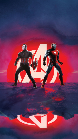 Captain America and Iron Man Avengers Endgame Wallpaper in 320x568 Resolution