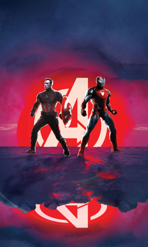 Captain America and Iron Man Avengers Endgame Wallpaper in 480x800 Resolution
