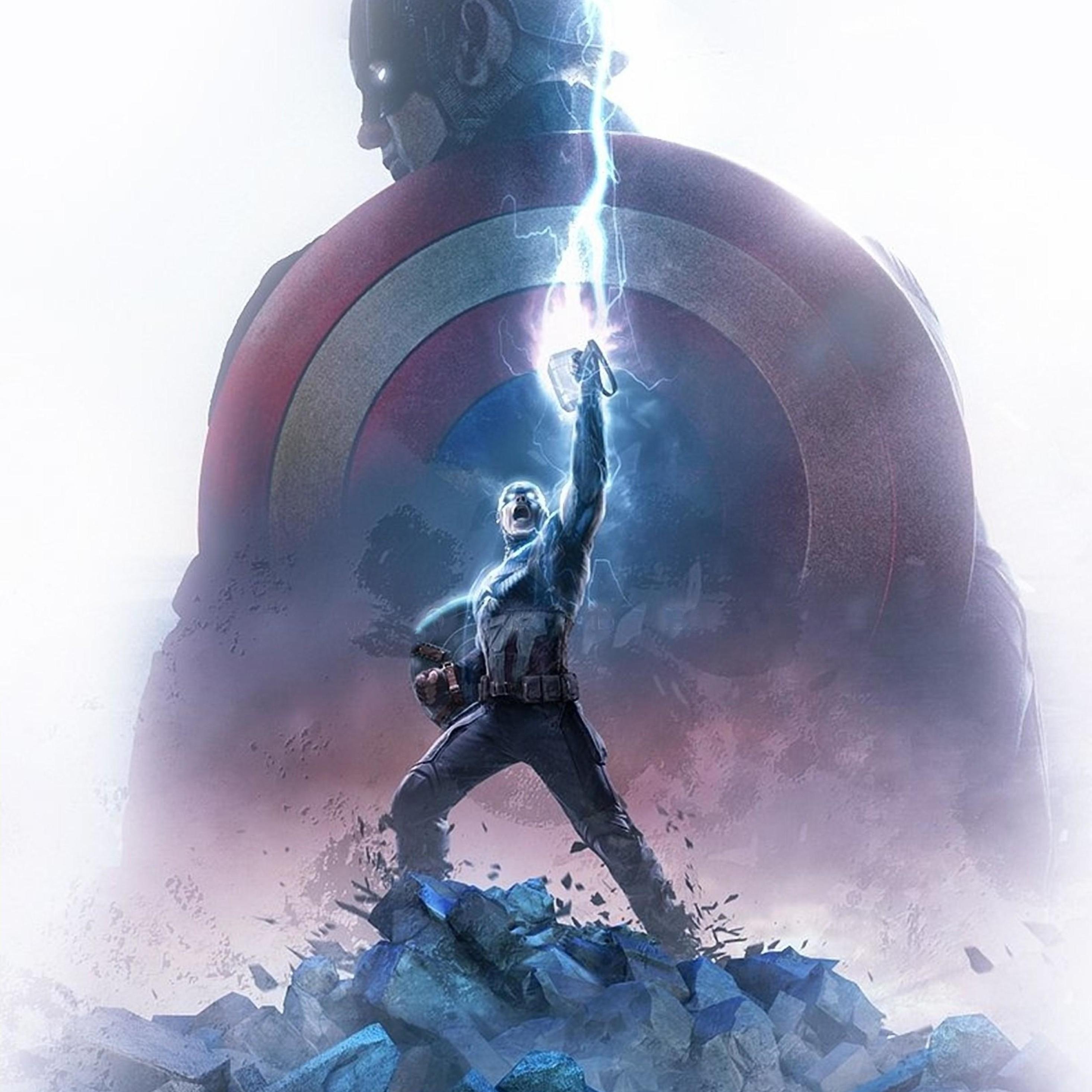 2932x2932 Captain America Thor Hammer Ipad Pro Retina