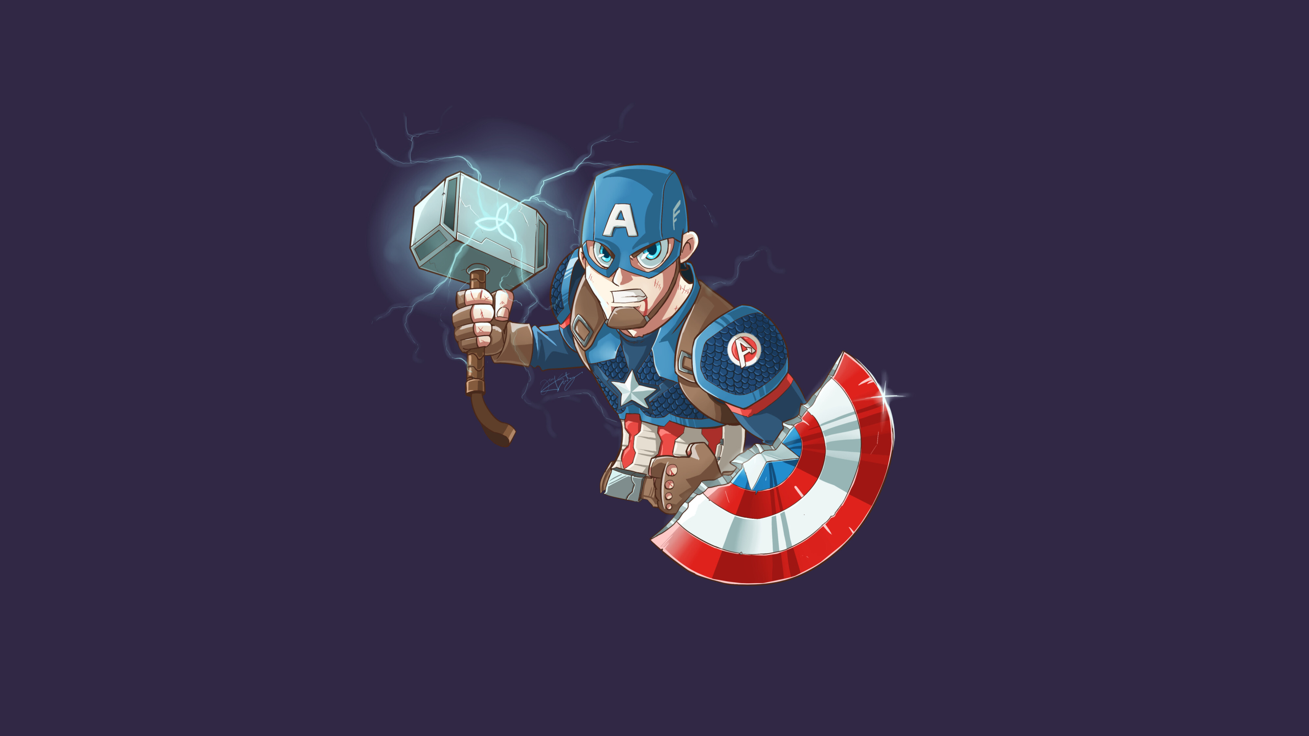 2560x1440 Captain America With Mjolnir And Shield Art 1440p