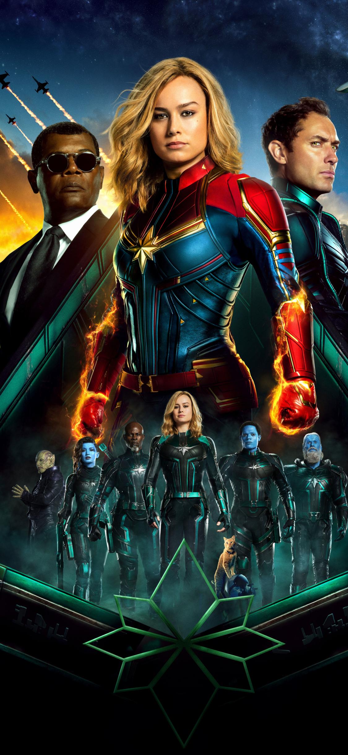 1125x2436 Captain Marvel Movie All Superheroes Iphone Xs