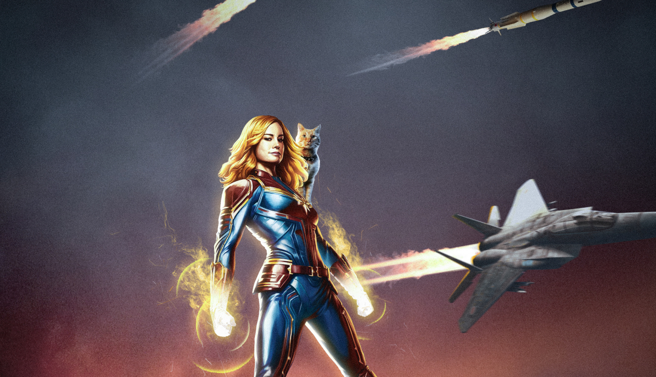 1336x768 Captain Marvel Movie Poster Art Hd Laptop Wallpaper