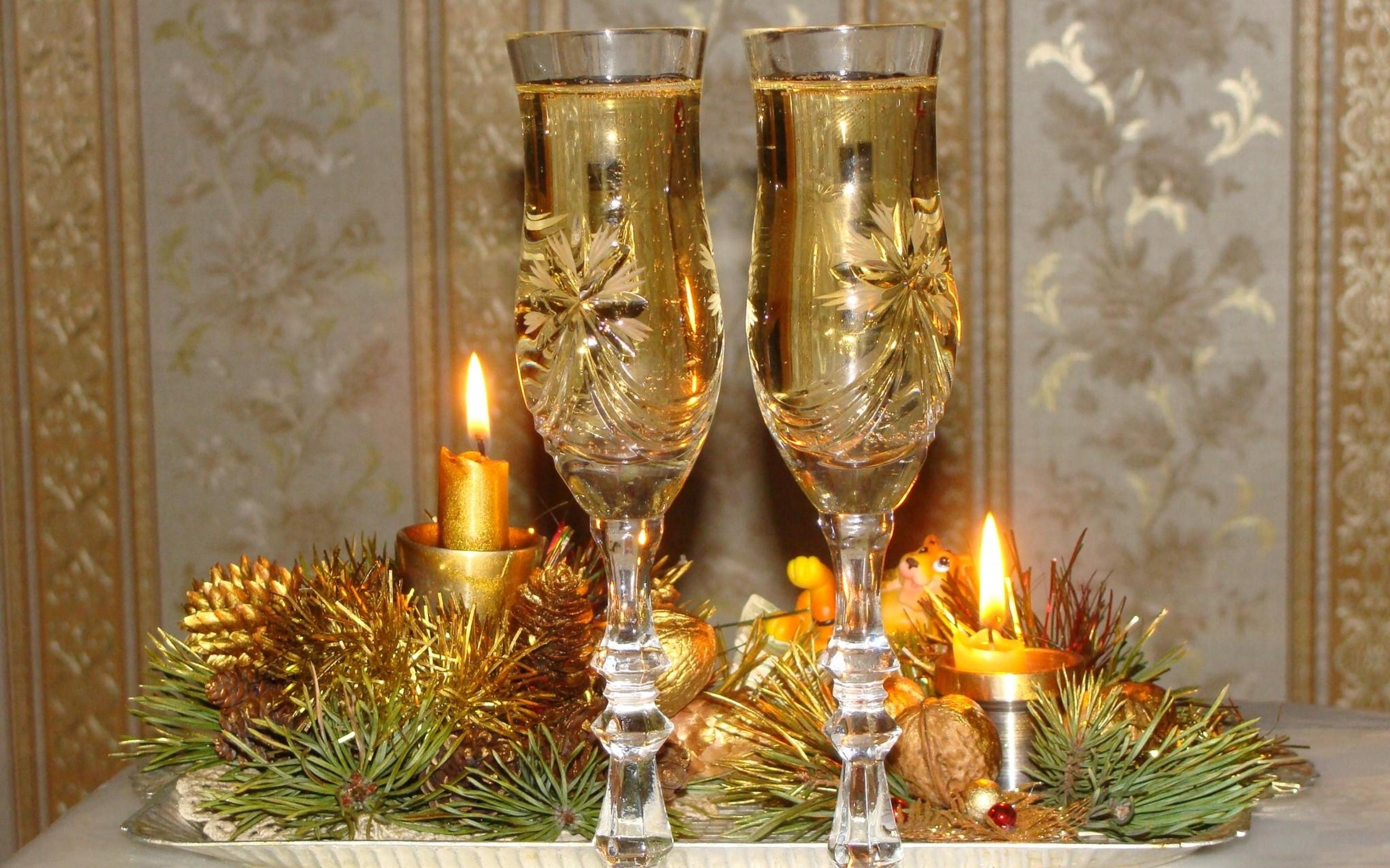 Открытка свечи шампанское, добрым утром