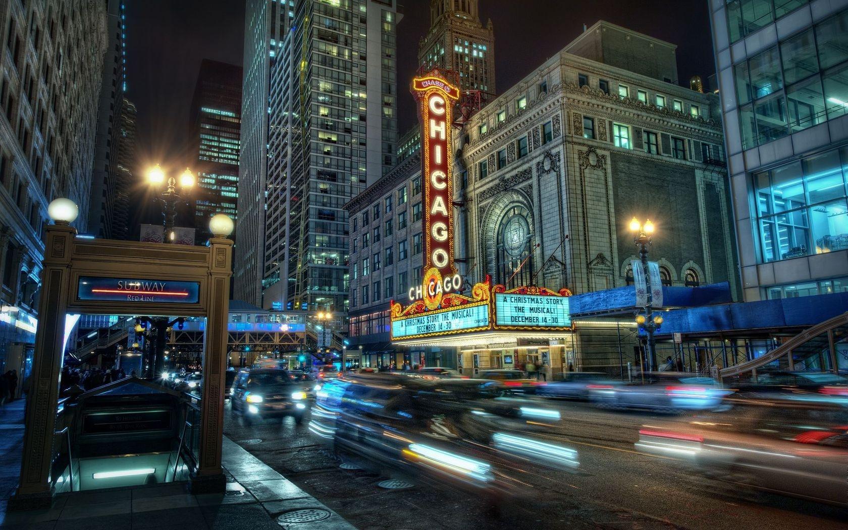 Chicago City Night Lights Buildings Wallpaper Hd City 4k