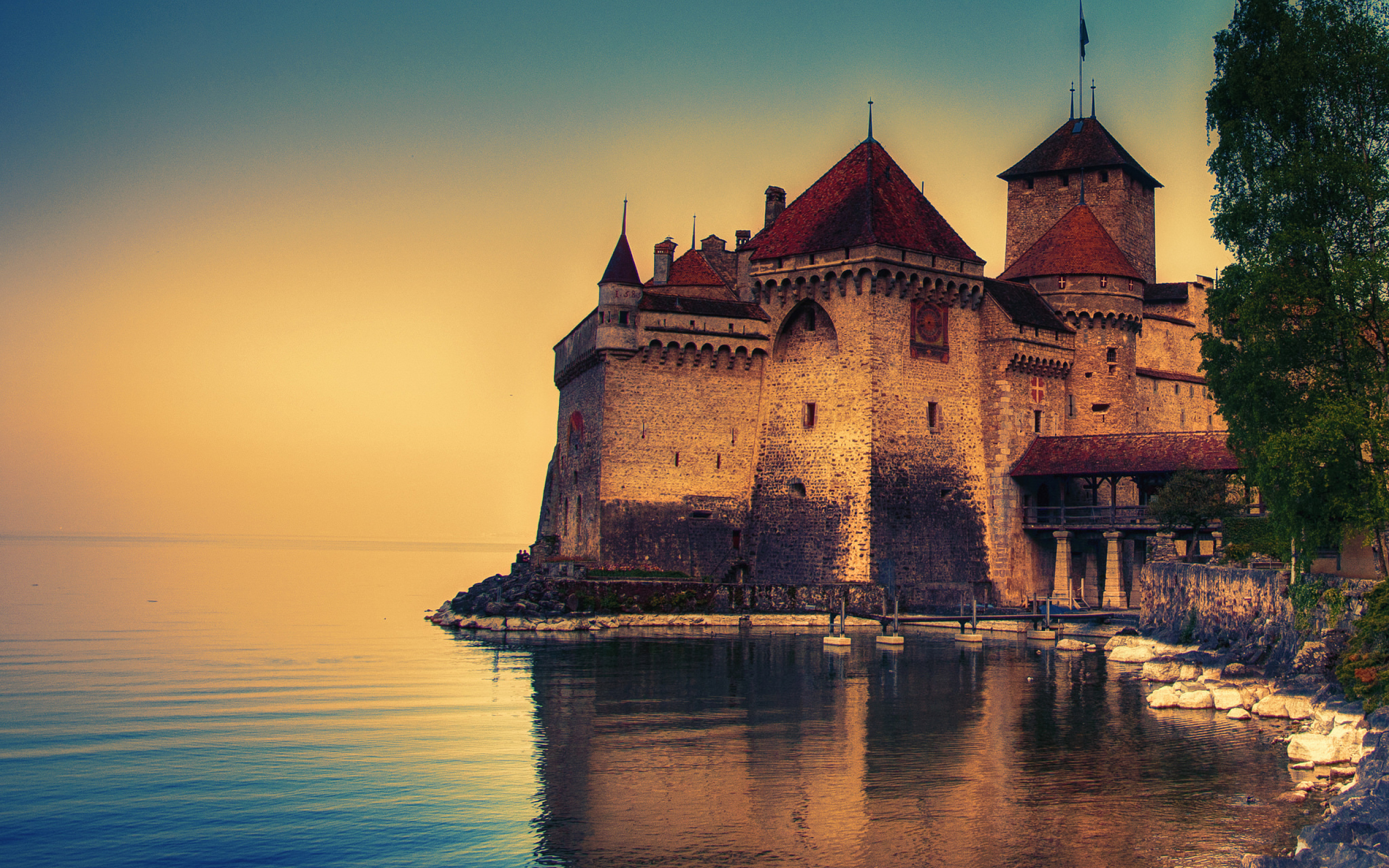 Chillon castle switzerland lake geneva full hd 2k wallpaper - Switzerland wallpaper full hd ...