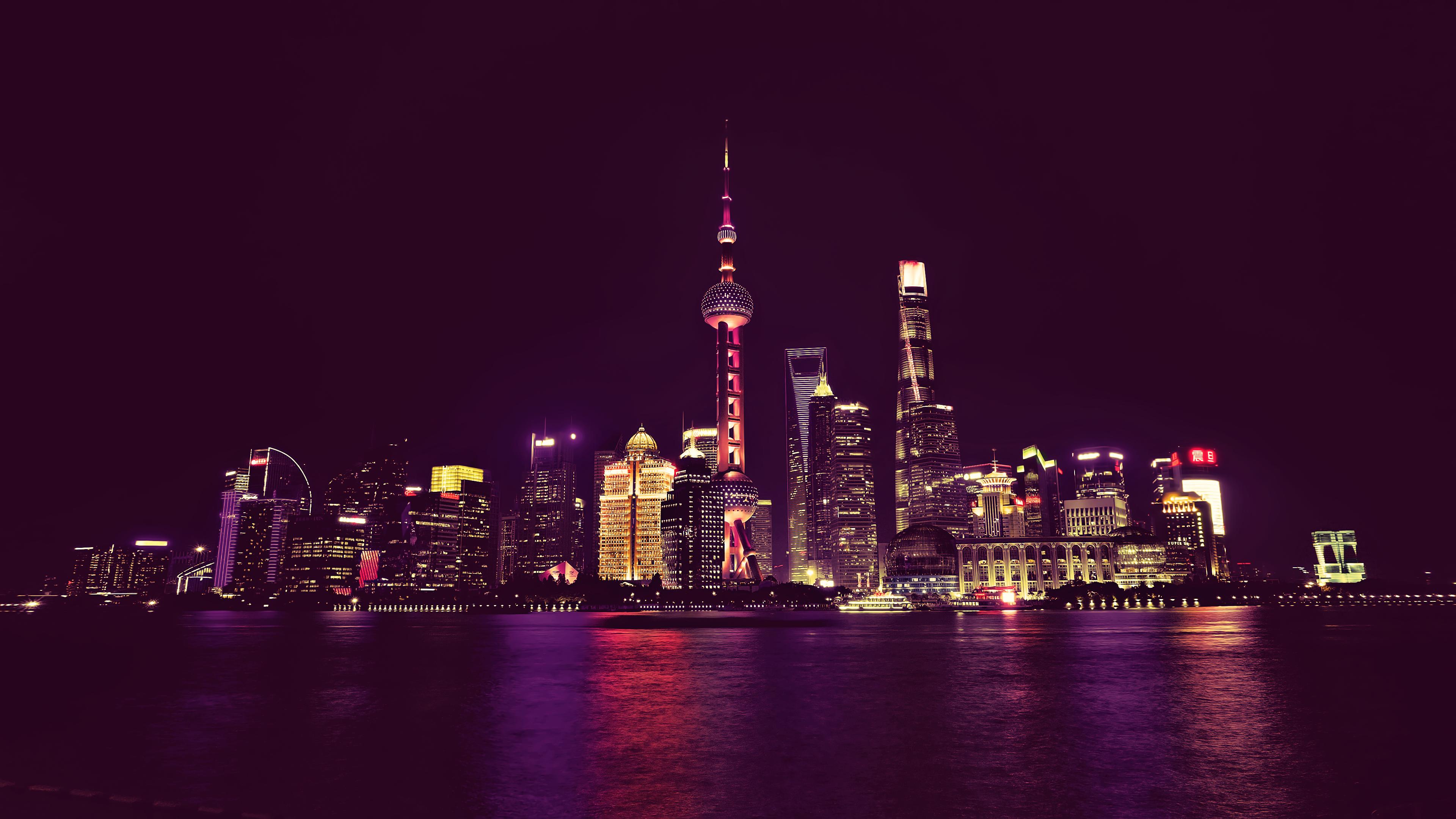 China Neon City Light Cityscape, HD 4K Wallpaper