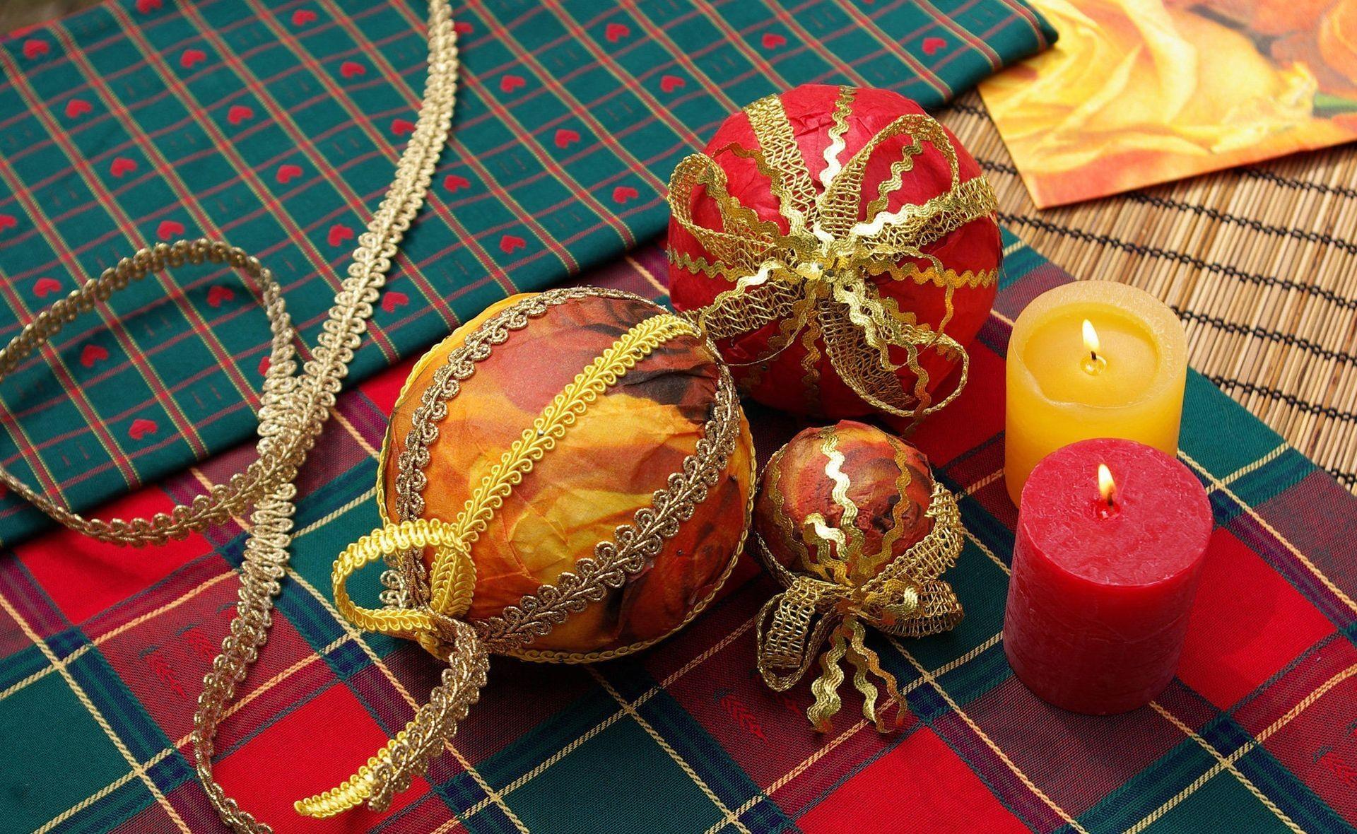 christmas decorations, candles, cloth Wallpaper, HD ...