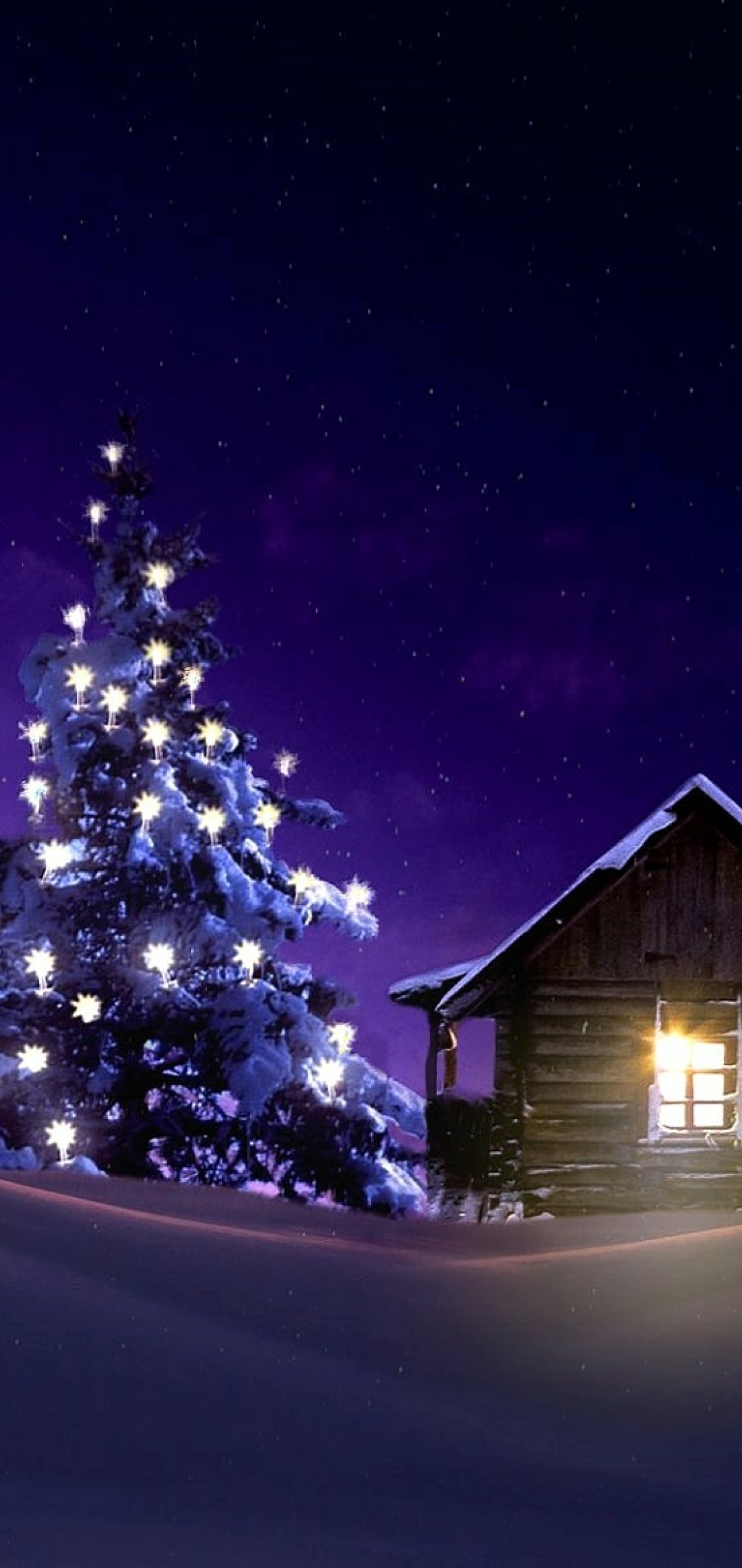 1080x2280 Christmas Lighted Tree Outside Winter Cabin One