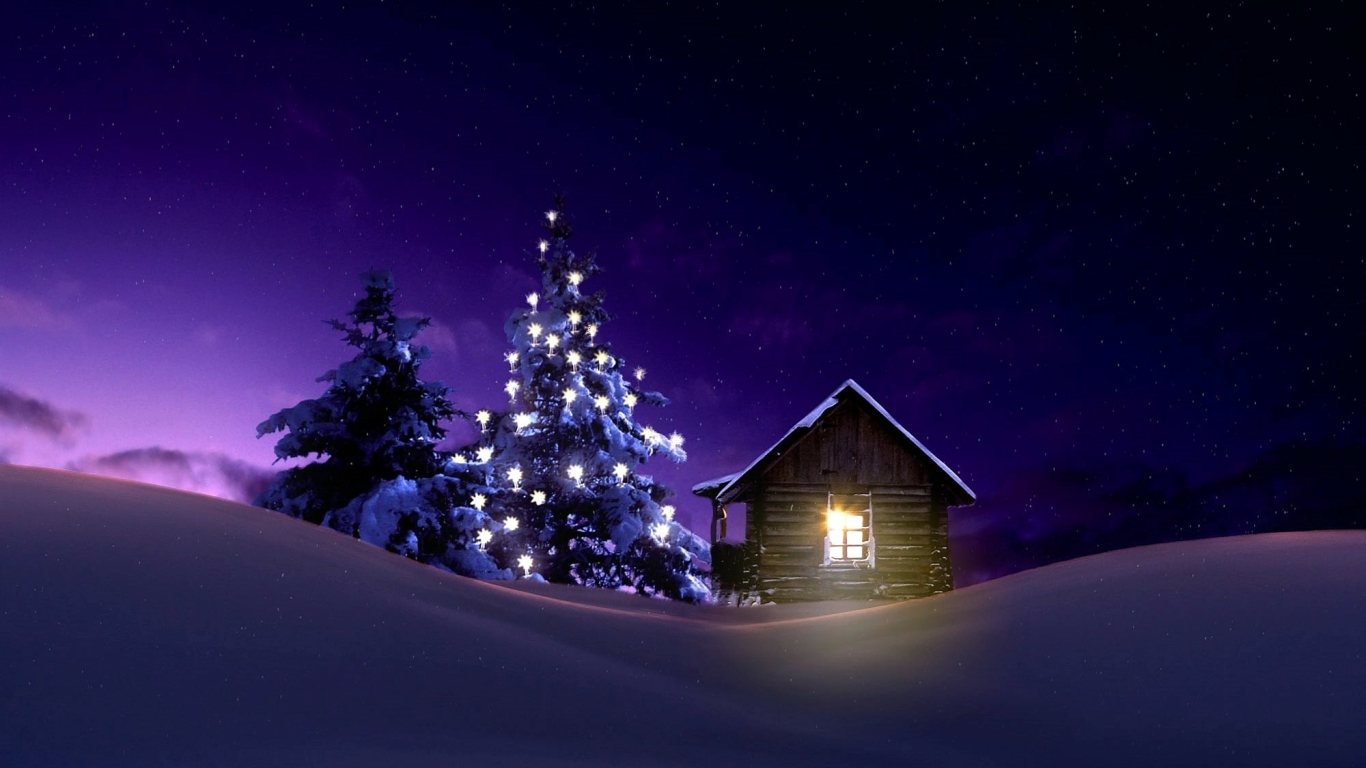 1366x768 Christmas Lighted Tree Outside Winter Cabin 1366x768