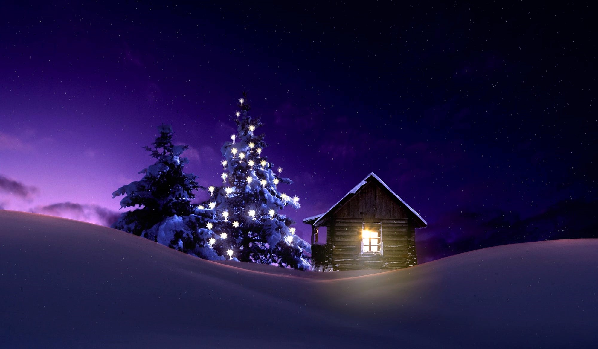 Christmas Lighted Tree Outside Winter Cabin Wallpaper Hd Holidays 4k Wallpapers Images Photos And Background