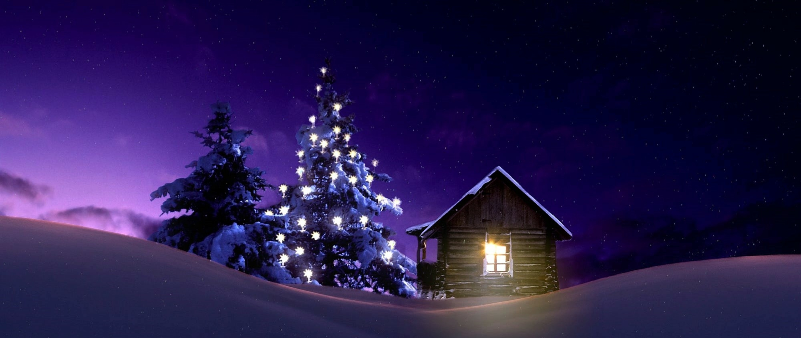 Christmas Lighted Tree Outside Winter Cabin Full Hd 2k Wallpaper
