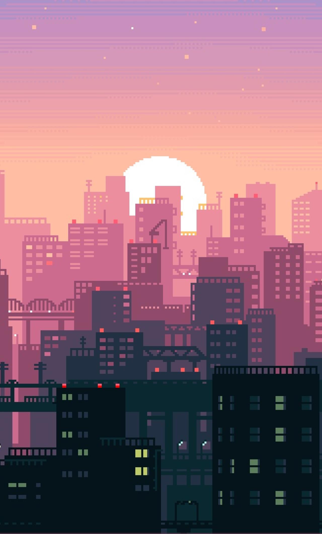 1280x2120 City Building Sunshine Pixel Art Iphone 6 Plus Wallpaper