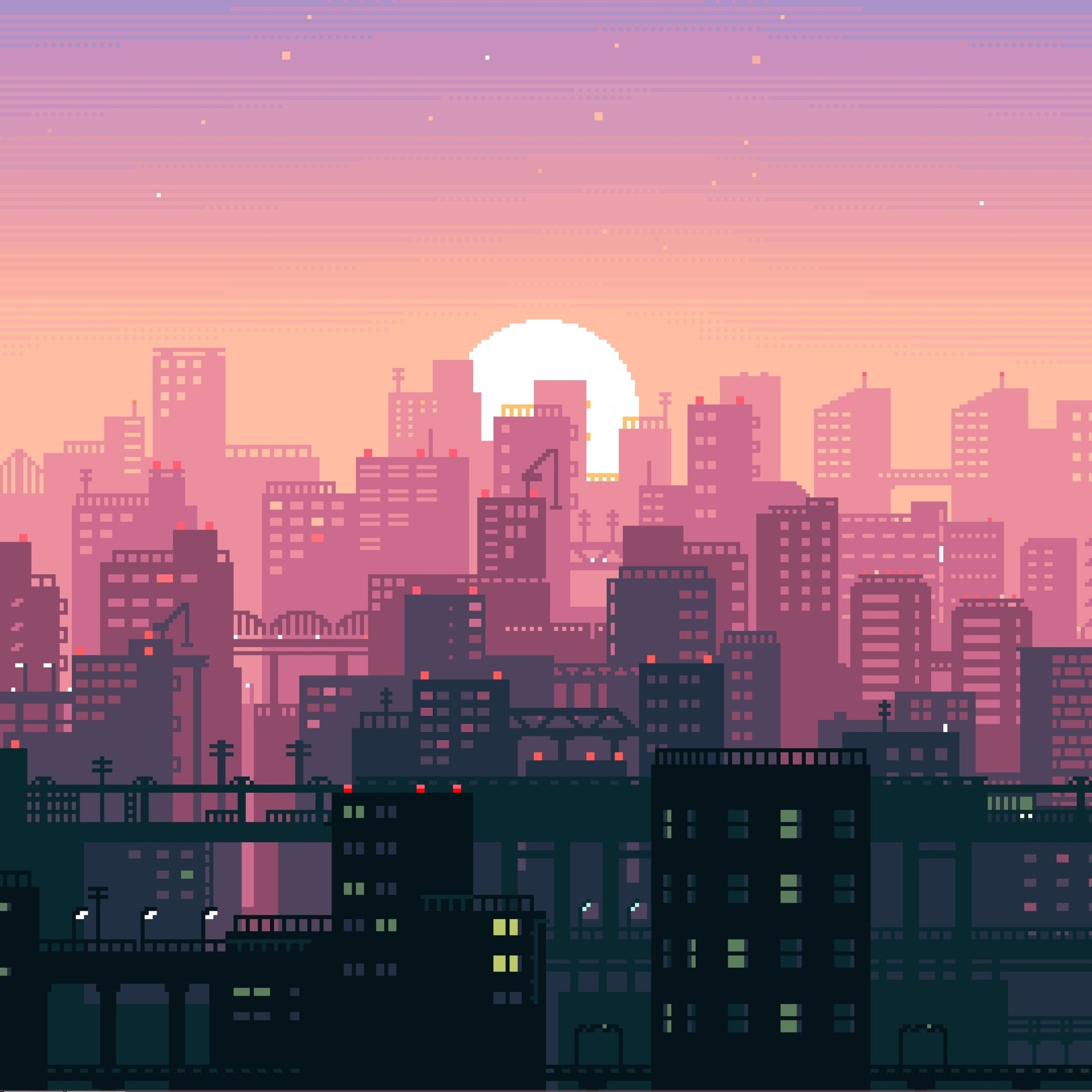 City Building Sunshine Pixel Art, Full HD Wallpaper