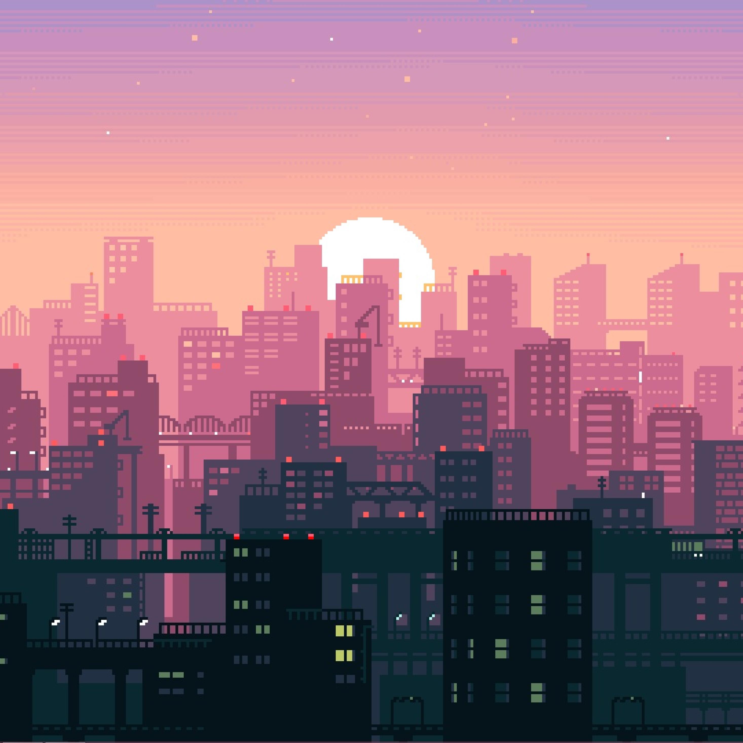 City Building Sunshine Pixel Art, Full HD Wallpaper