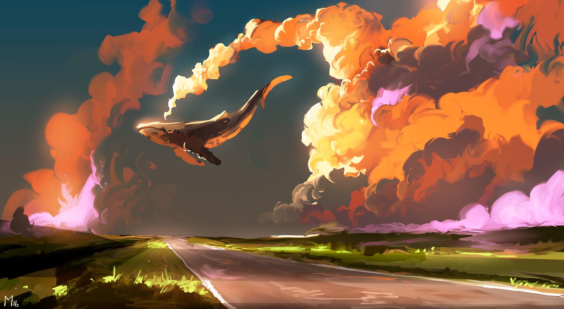 1366x768 Playerunknowns Battlegrounds 4k Art 1366x768: Cloud Sky Whale, Full HD Wallpaper