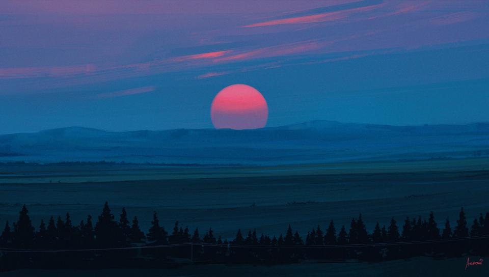 Cold Red Light Sunset, Full HD Wallpaper