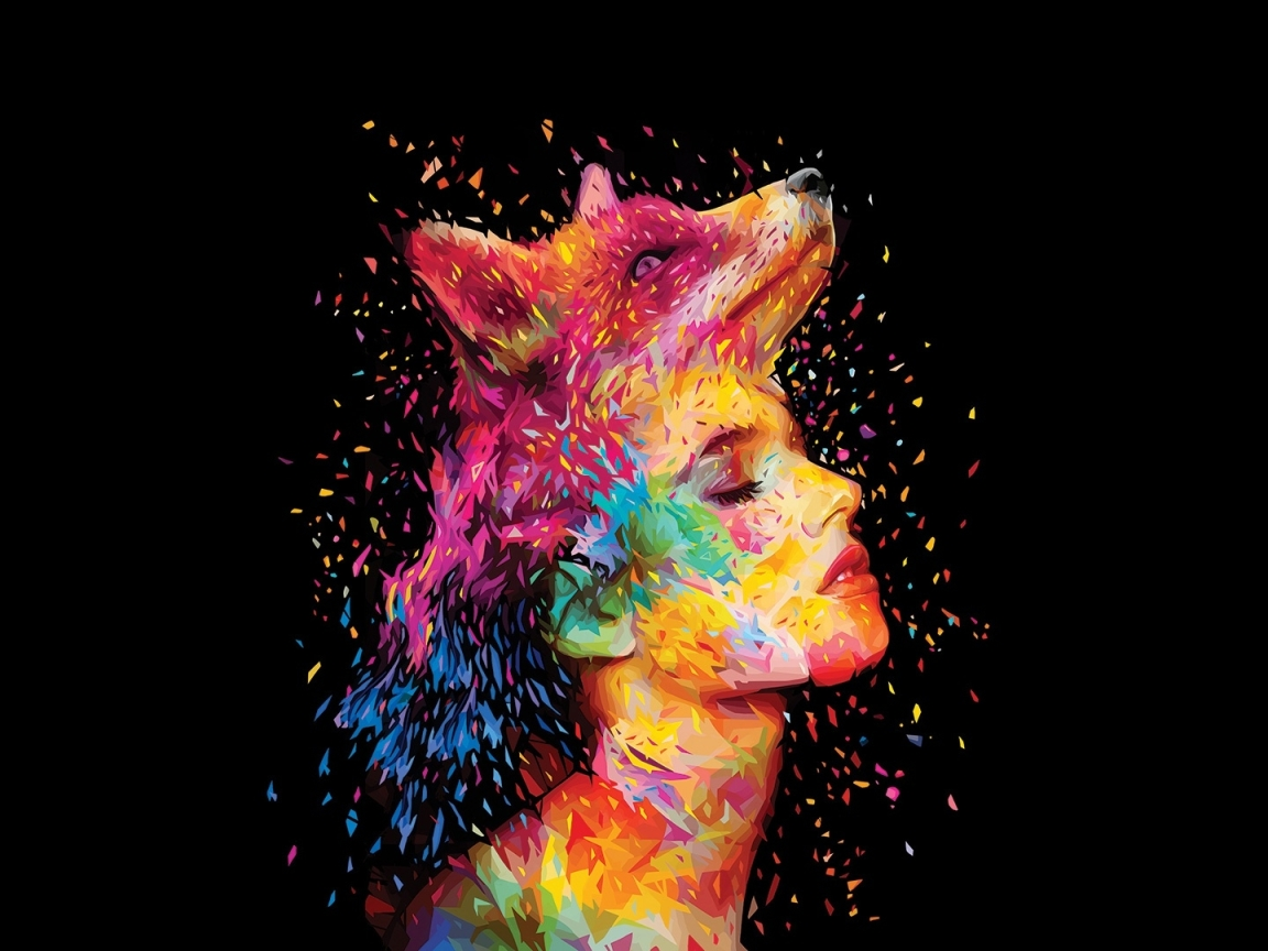 Colorful Closed Eyes Wolf Head Women Face, Full HD Wallpaper