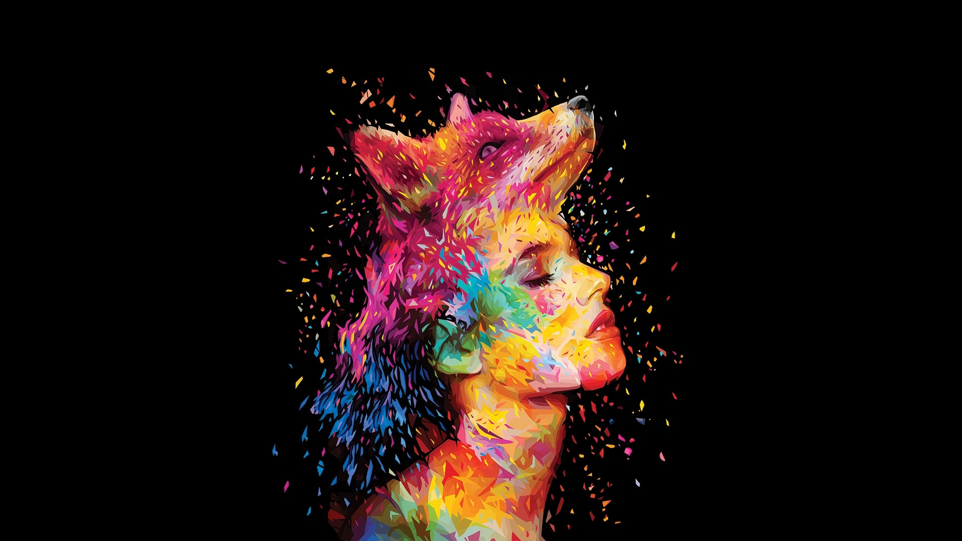 1920x1080 Abstracto Full Hd 1920x1080: Colorful Closed Eyes Wolf Head Women Face, Full HD Wallpaper