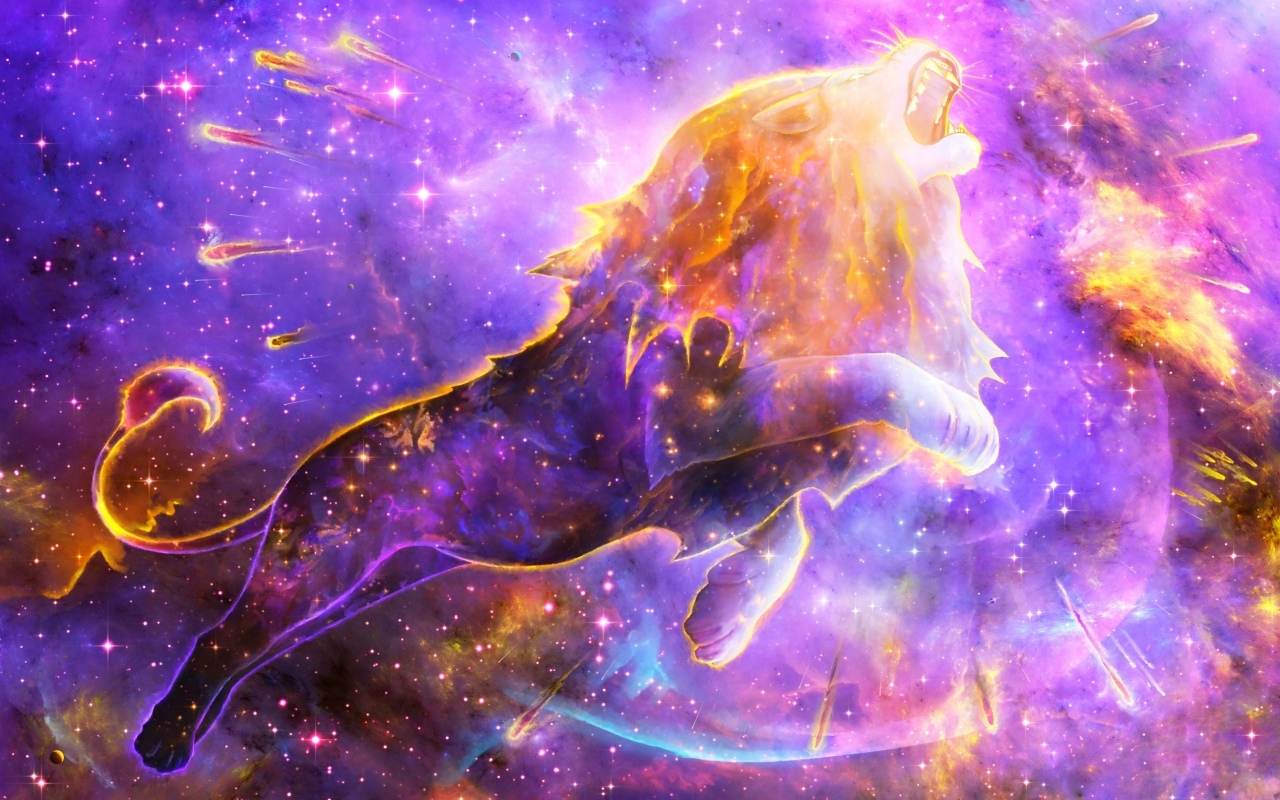 Colorful Lion Spirit In Space Nebula Full Hd 2k Wallpaper
