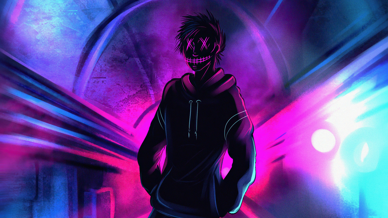 1280x720 Cool Anonymous Neon Boy 720P Wallpaper, HD Artist ...