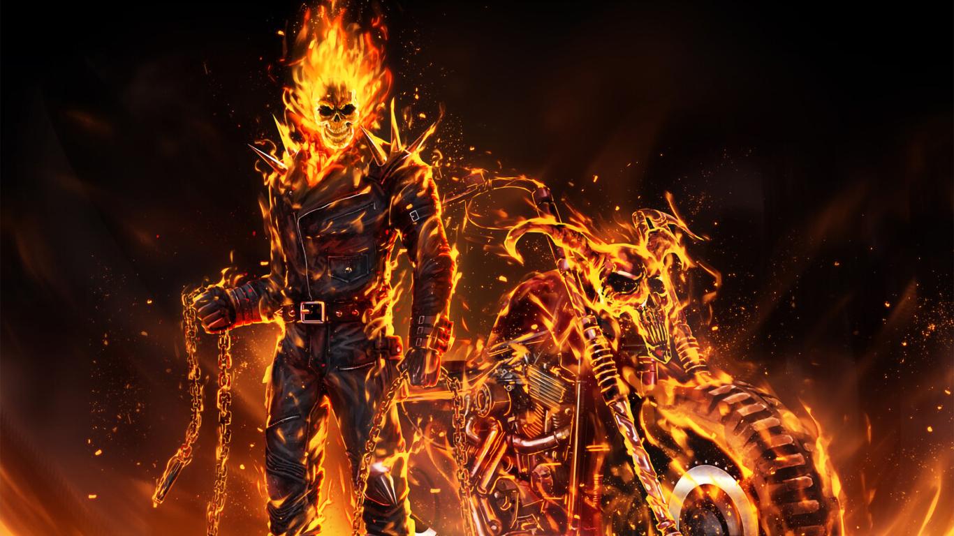 1366x768 Coolest Ghost Rider 2020 Art 1366x768 Resolution ...
