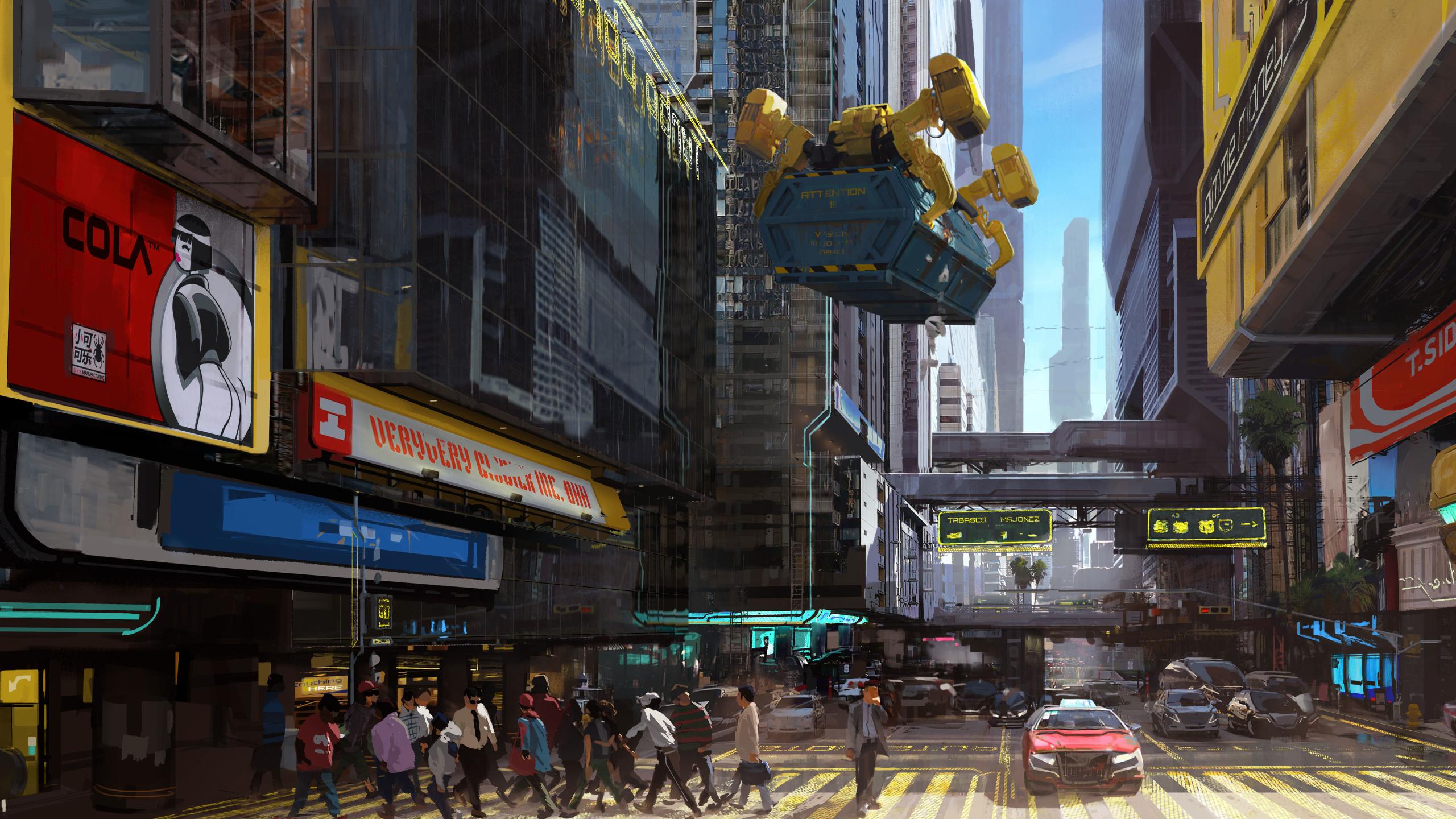 2560x1440 Cyberpunk 2077 City Concept Art 1440P Resolution ...