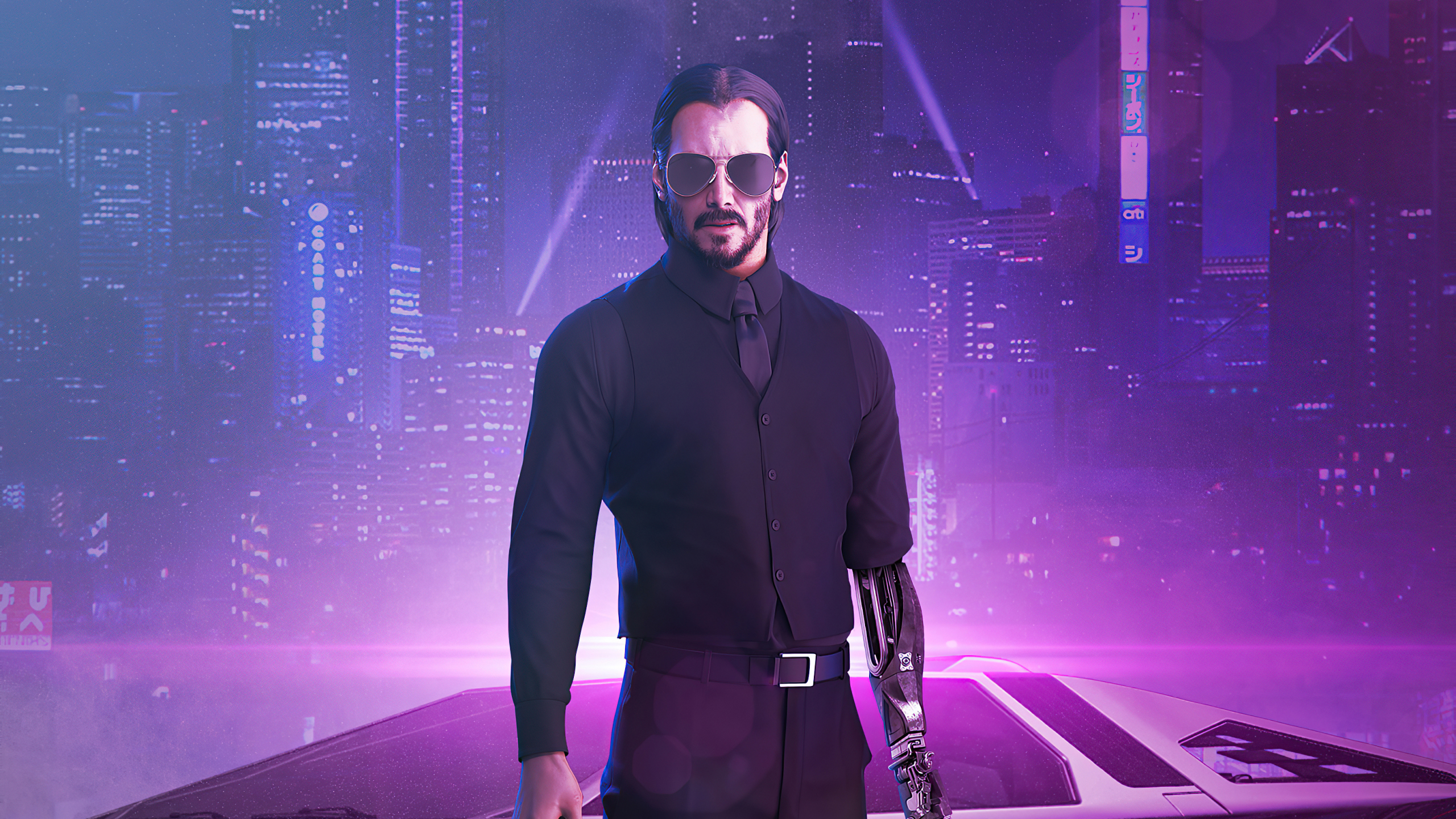 2560x1440 Cyberpunk 2077 X Keanu Reeves Fan Illustration 1440p Resolution Wallpaper Hd Artist 4k Wallpapers Images Photos And Background