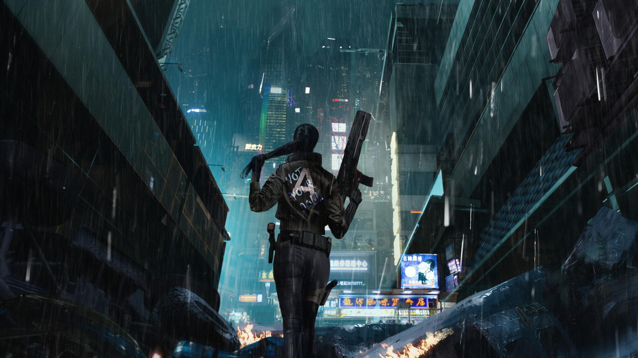 2560x1440 Cyberpunk Girl In Rain 1440P Resolution ...